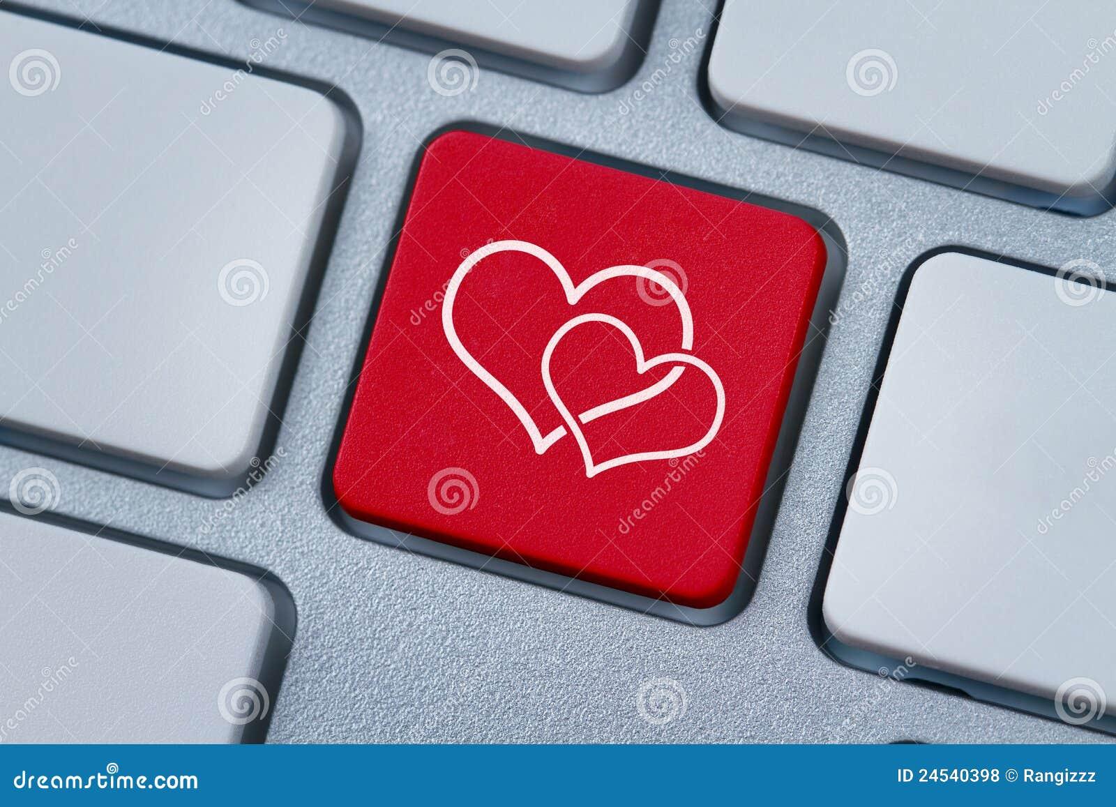 Komputerowej serc klucza miłości online symbol dwa