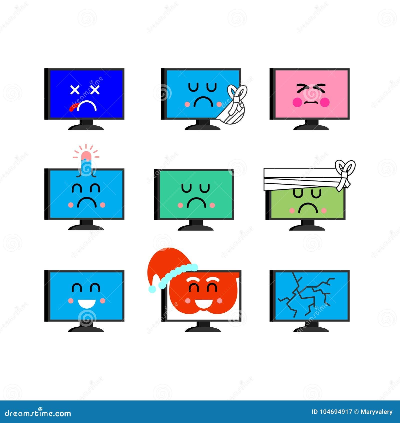 Komputerowy emoji set Sed i szczęśliwa pecet emocja choroba i nieżywy ang