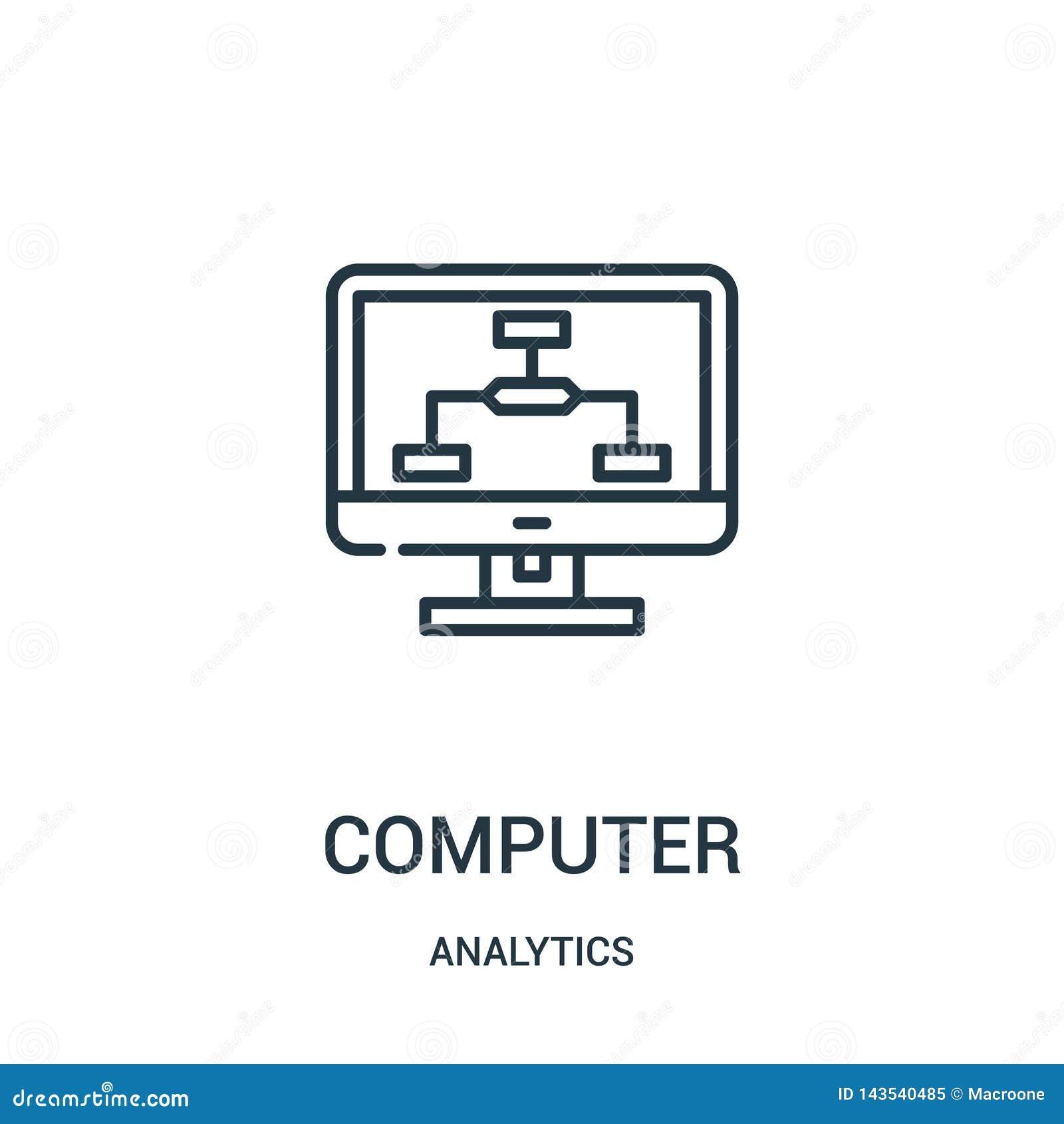 Komputerowy ikona wektor od analityka inkasowych Cienka kreskowa komputerowa kontur ikony wektoru ilustracja
