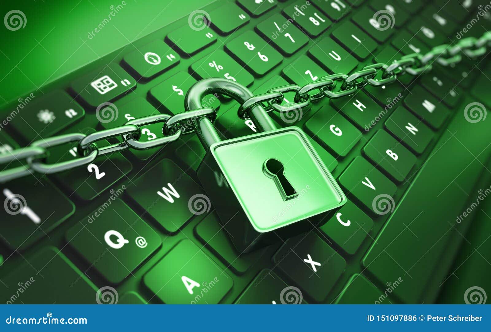 Komputerowy kędziorek i łańcuch - pojęcie ochrona