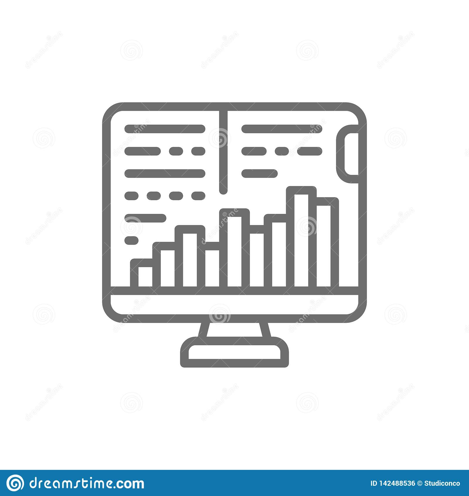 Komputerowy monitor z wzrostowymi wykresami, rynek papier