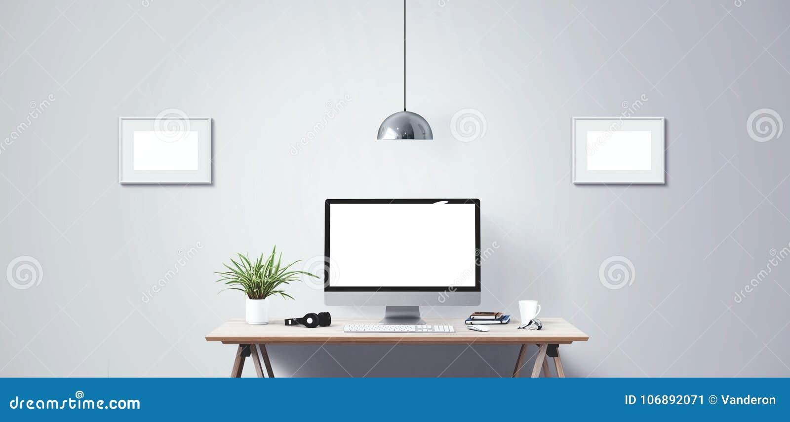 Komputeru stacjonarnego ekran Nowożytny kreatywnie workspace tło Frontowy widok