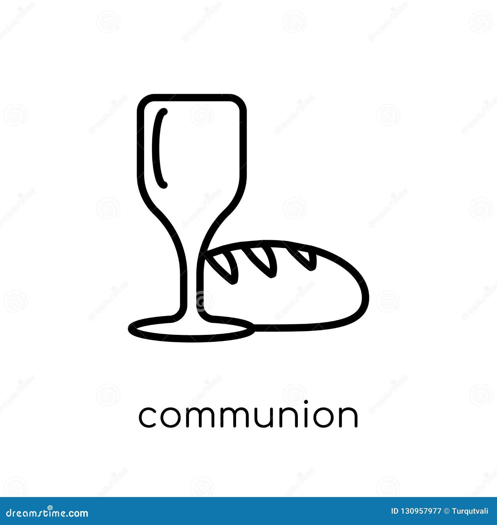 Komuni ikona Modna nowożytna płaska liniowa wektorowa komuni ikona
