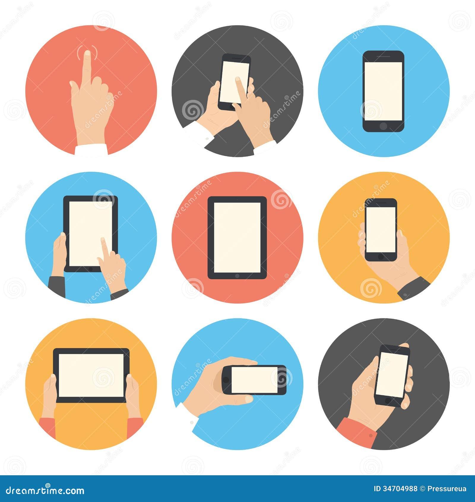 Komunikacj mobilnych płaskie ikony ustawiać