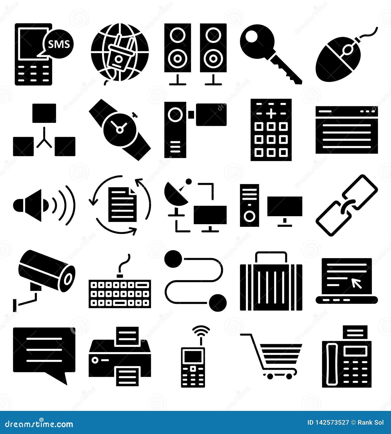 Komunikacyjni i Cyfrowy przyrząda Odizolowywali Wektorowe ikony ustawiać które mogą łatwo redagować lub modyfikować