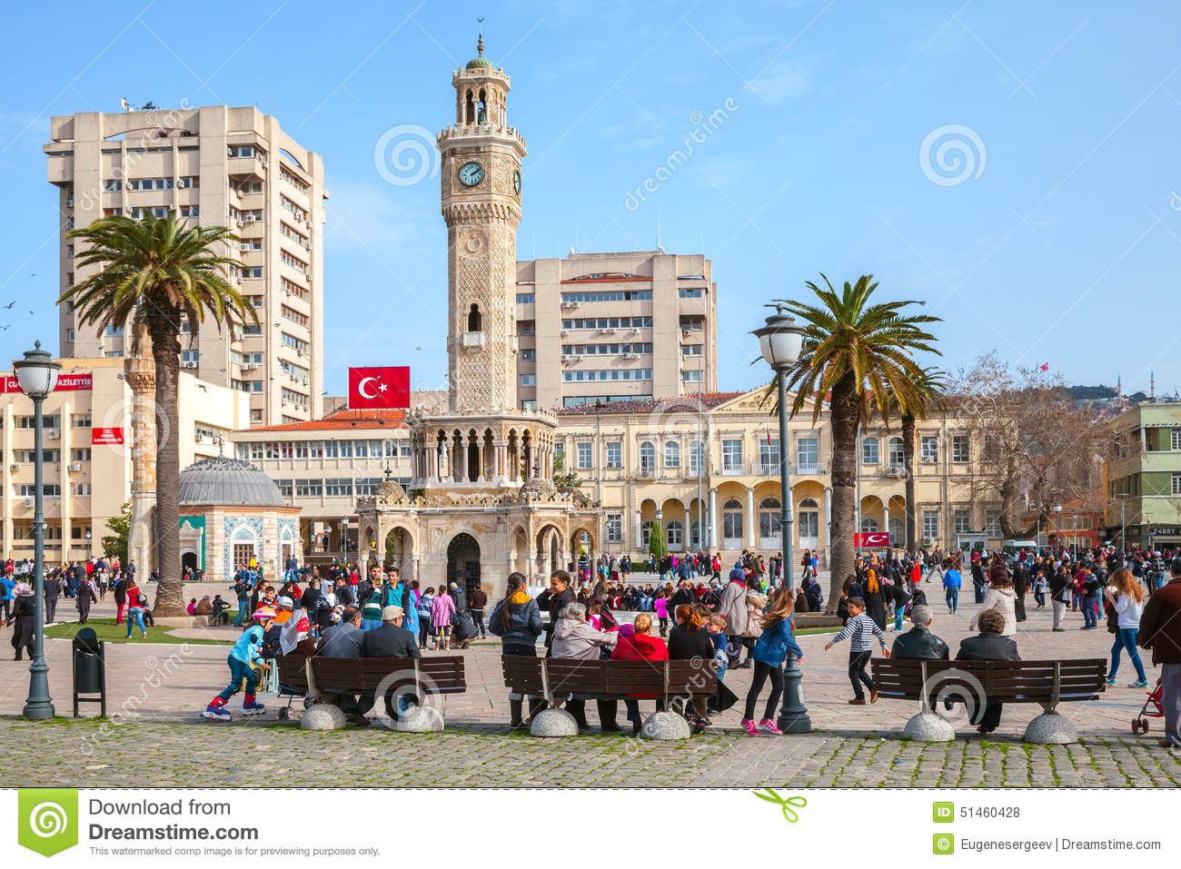 Konak Square With Tourists Walking Near Clock Tower ...
