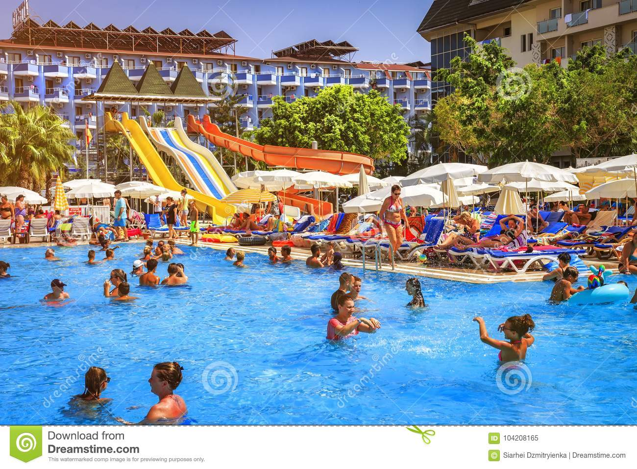 Konakli Turkey August 18 2017 Swimming Pool With Water Park In Resort Tropical Hotel Happy