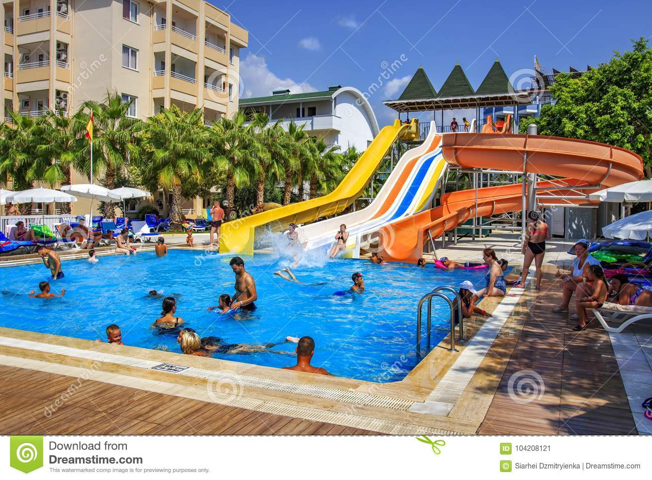 Konakli Turkey August 18 2017 Swimming Pool With Water Park In Territory Of Resort Tropical Hotel Editorial Photo Image Of Summer Swimming 104208121