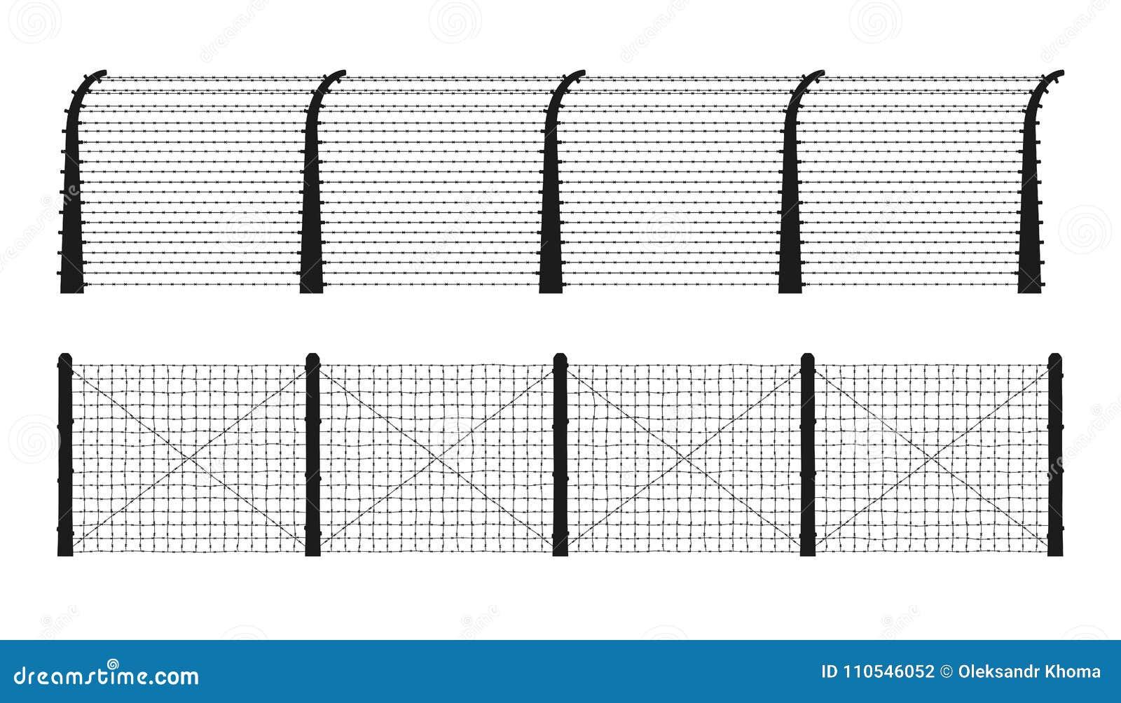 Koncentracyjnego obozu ogrodzenia sylwetki