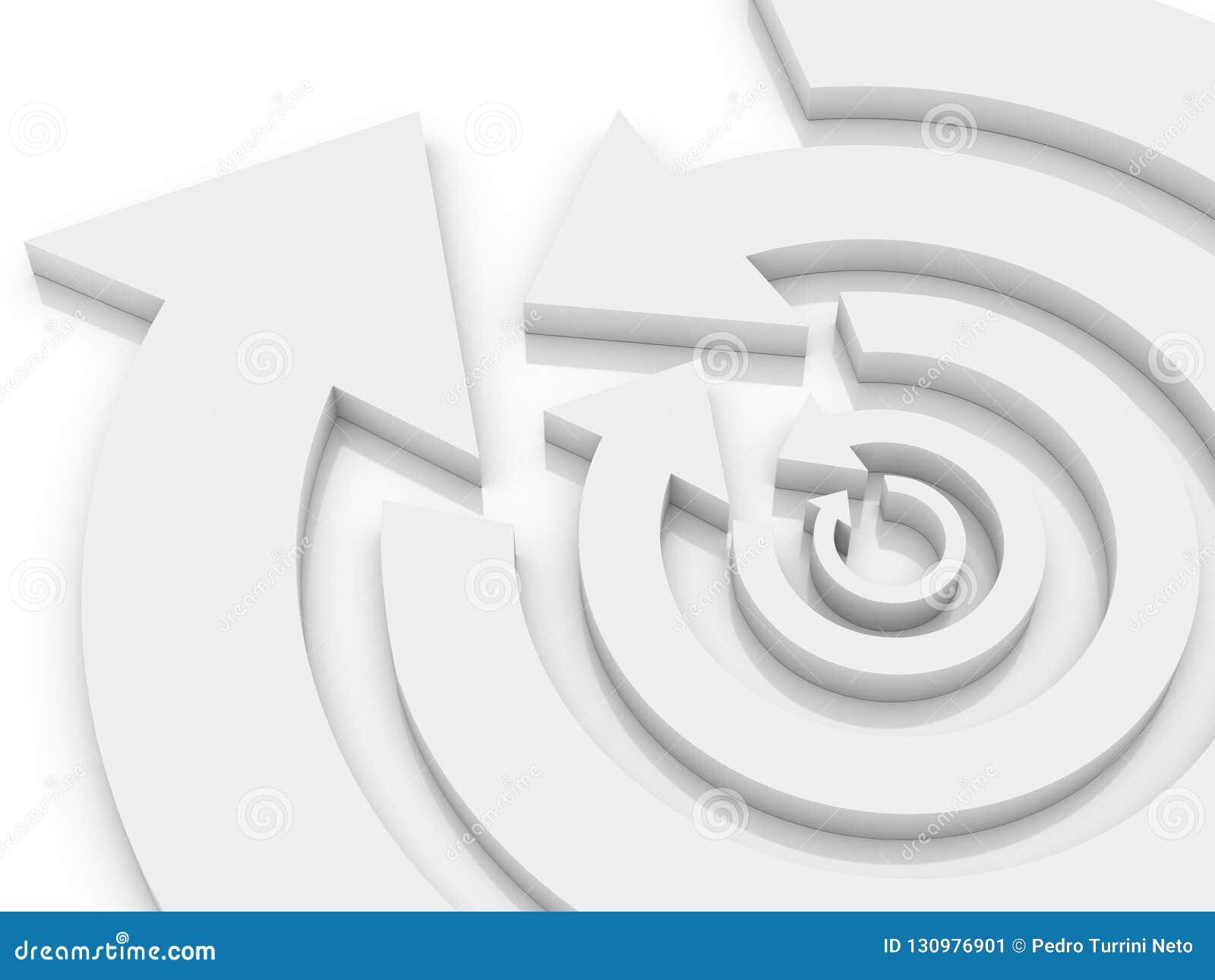 Koncentryczne kółkowe strzały białe w opposite kierunków na przemian 3D ilustracji