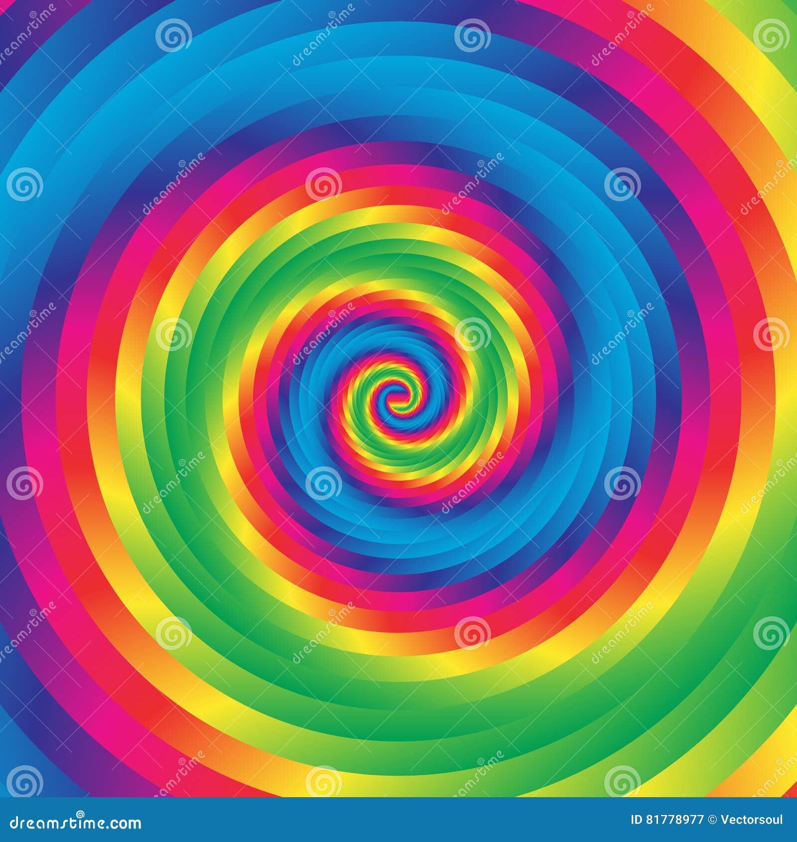 Koncentrycznej kolorowej spirali w przypadkowi okręgi Abstrakcjonistyczna kurenda