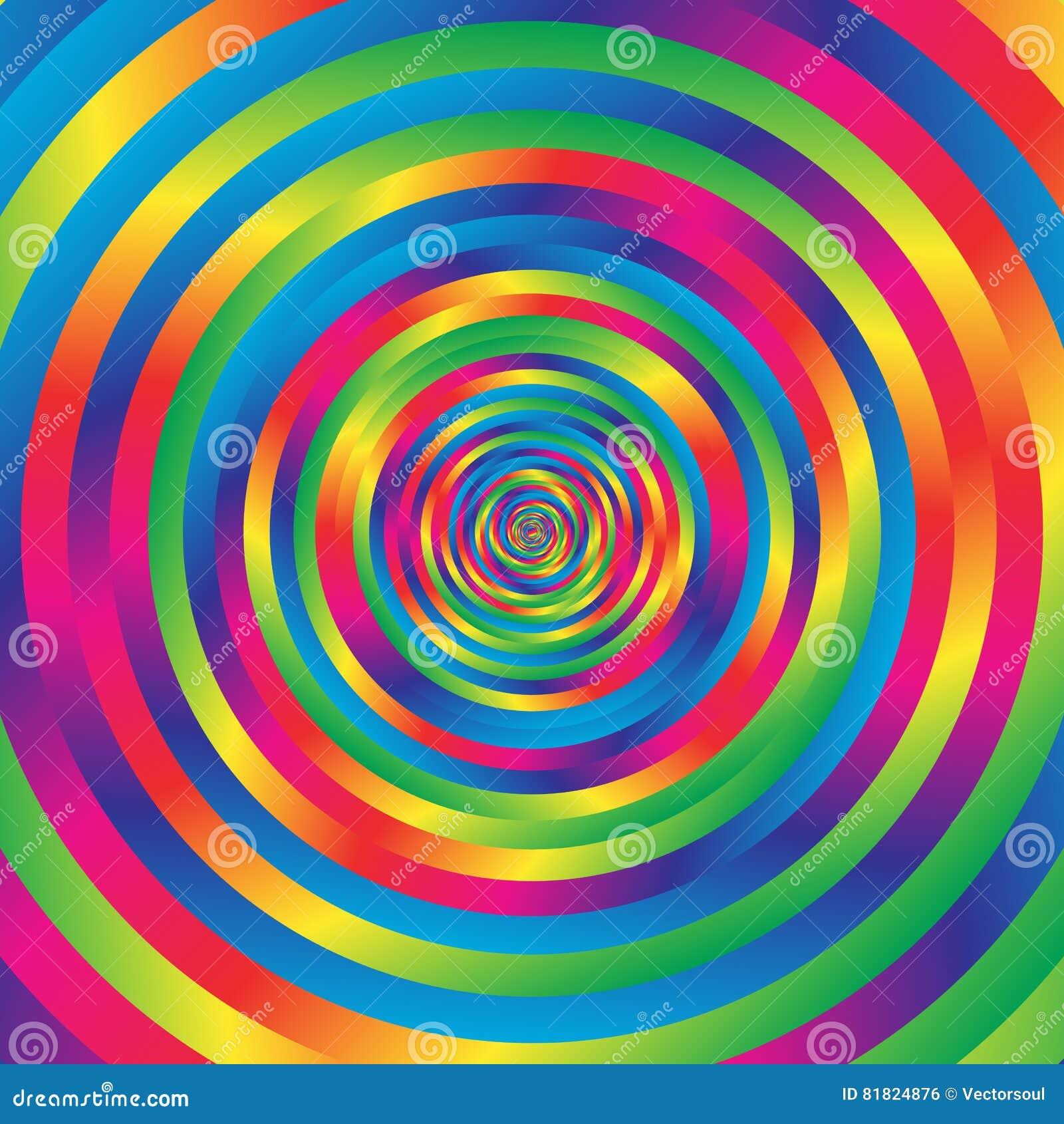 Koncentrycznej kolorowej spirali w przypadkowi okręgi Abstrakcjonistyczna kurenda p