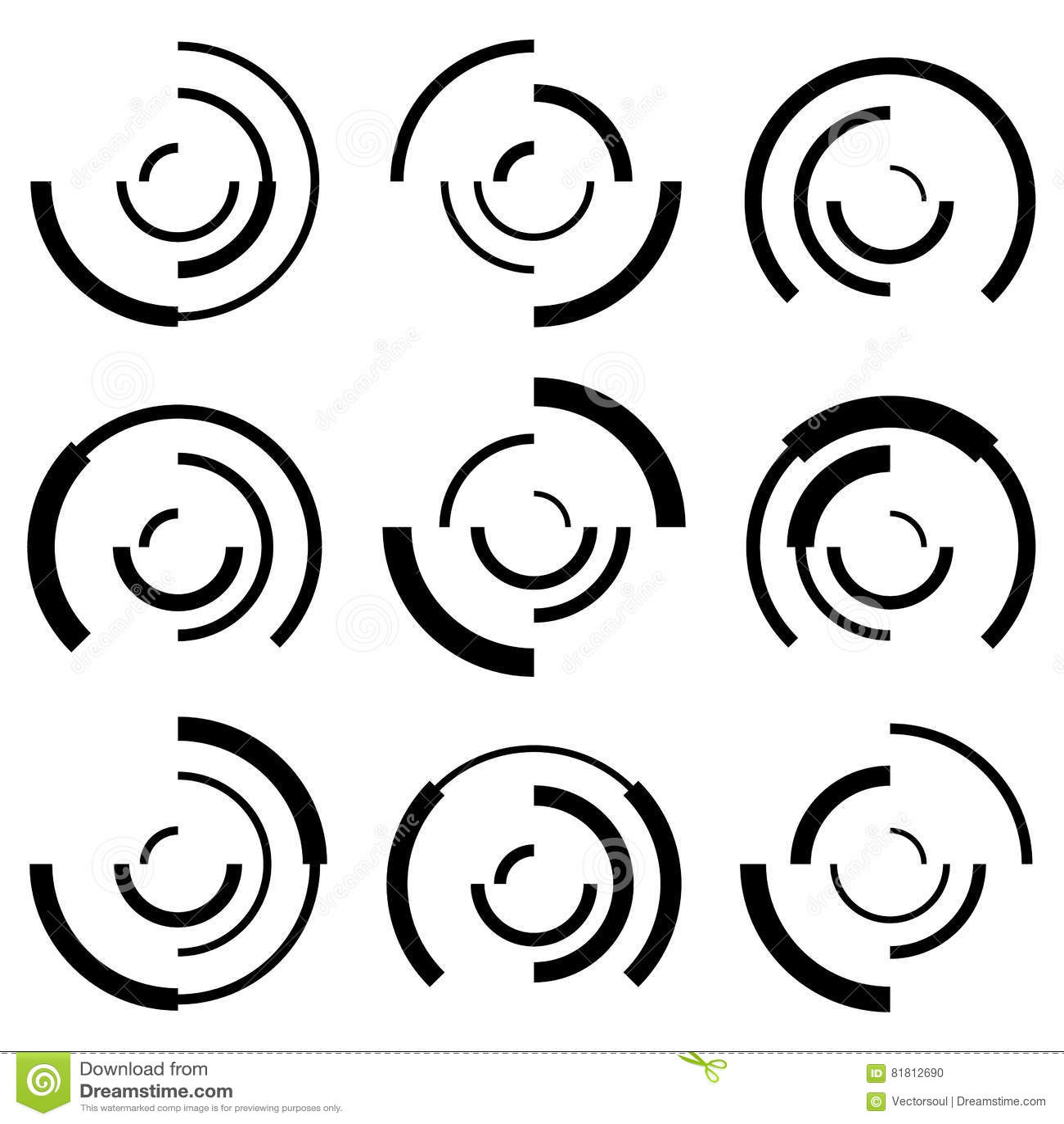Koncentryczni okręgi z przypadkowymi liniami Członujący okręgi abstrakcjonistyczni
