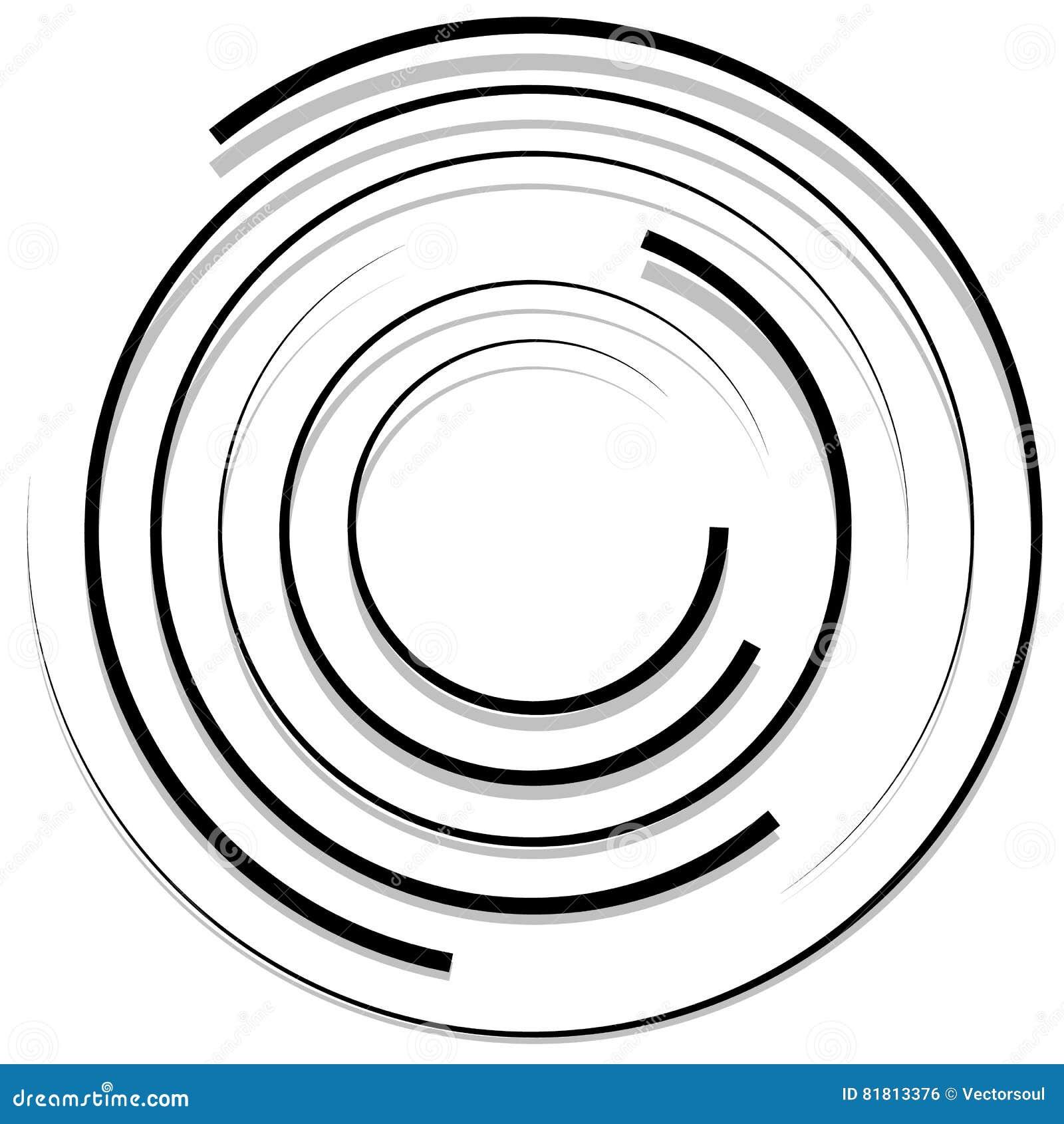 Koncentryczni przypadkowi okręgi z dynamicznymi liniami Kurendy spirala, s