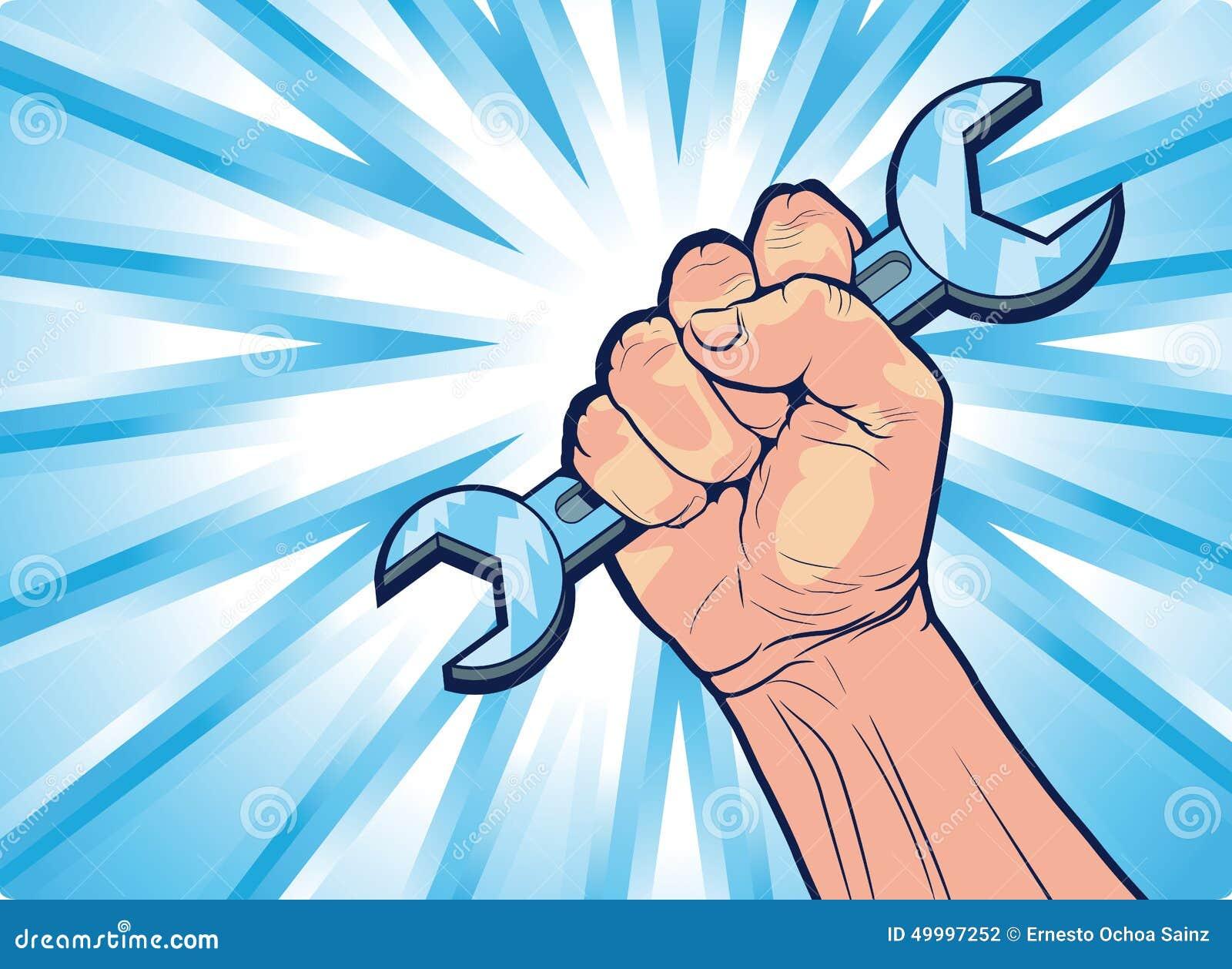 Konceptualna Cartooned ręka z wyrwania narzędziem
