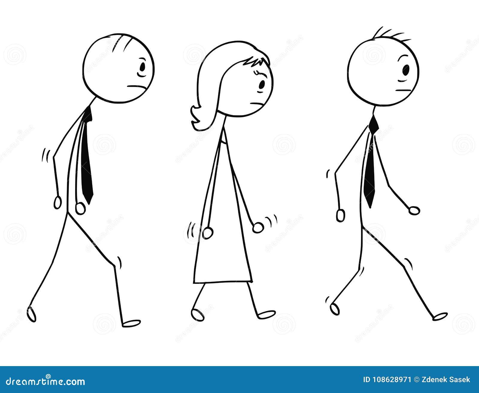 Konceptualna kreskówka Smutni lub Zmęczeni ludzie biznesu Chodzić
