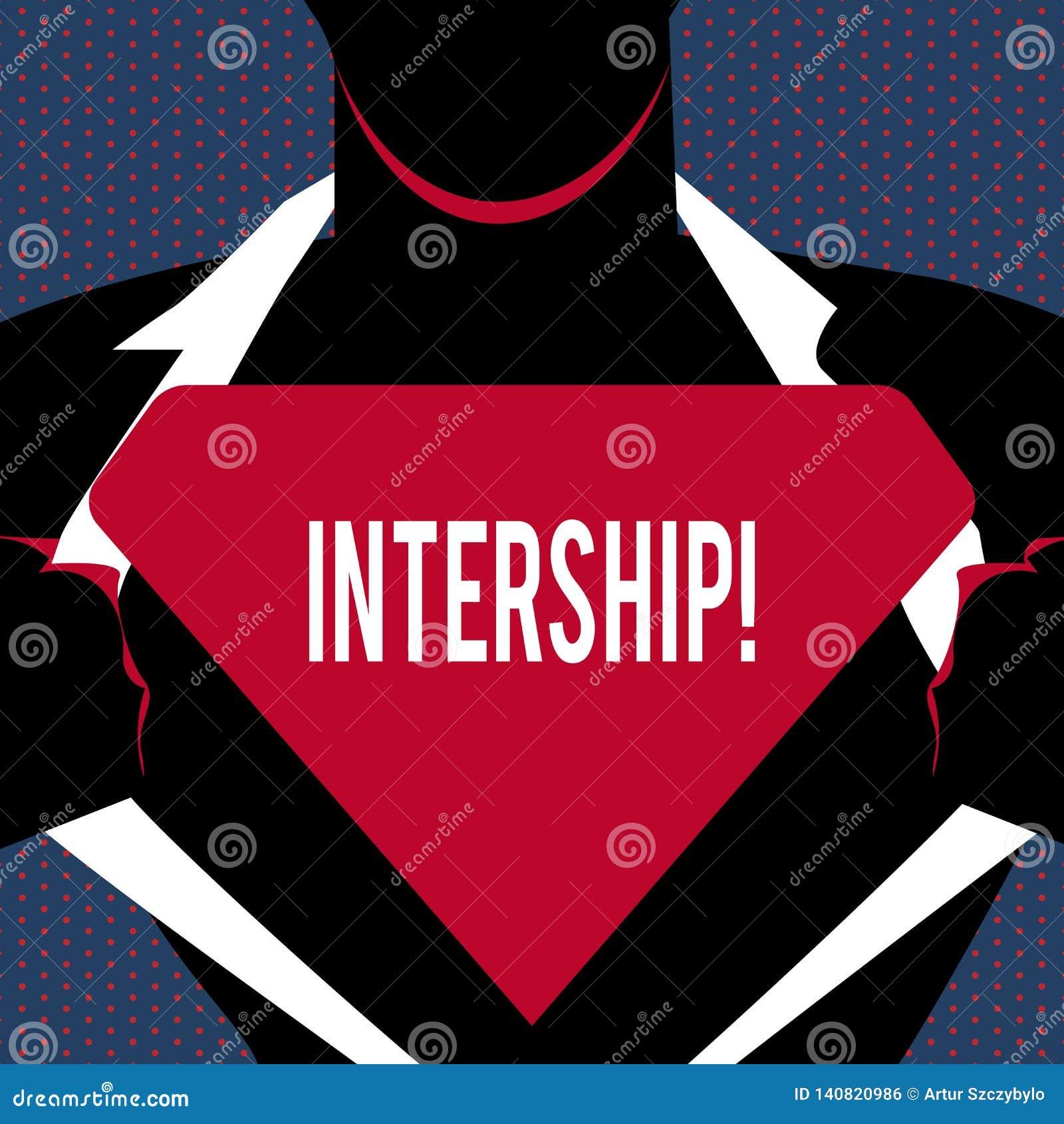 Konceptualna ręka pisze pokazywać intership Biznesowy fotografia teksta uczeń lub praktykant który pracują w firmie uzyskiwać