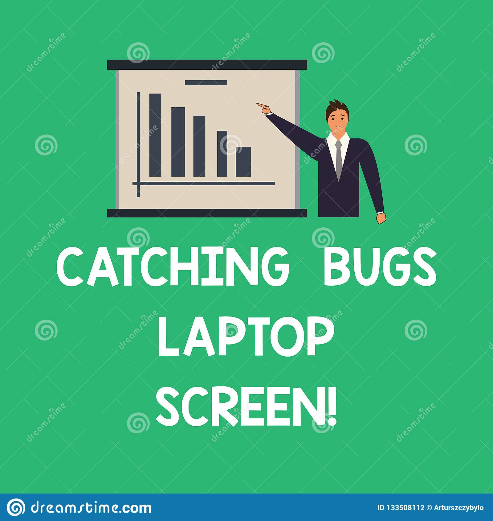 Konceptualna ręka pisze pokazywać Chwytającego pluskwa laptopu ekran Biznesowy fotografia teksta systemu komputerowego ochrony be