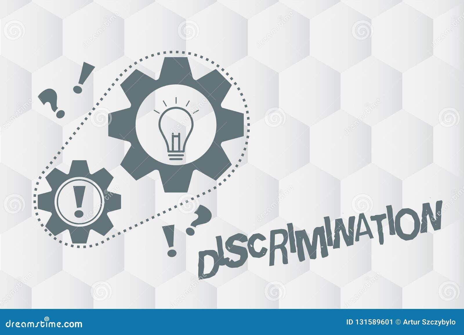 Konceptualna ręka pisze pokazywać dyskryminację Biznesowa fotografia pokazuje Prejudycjałnego traktowanie różne kategorie