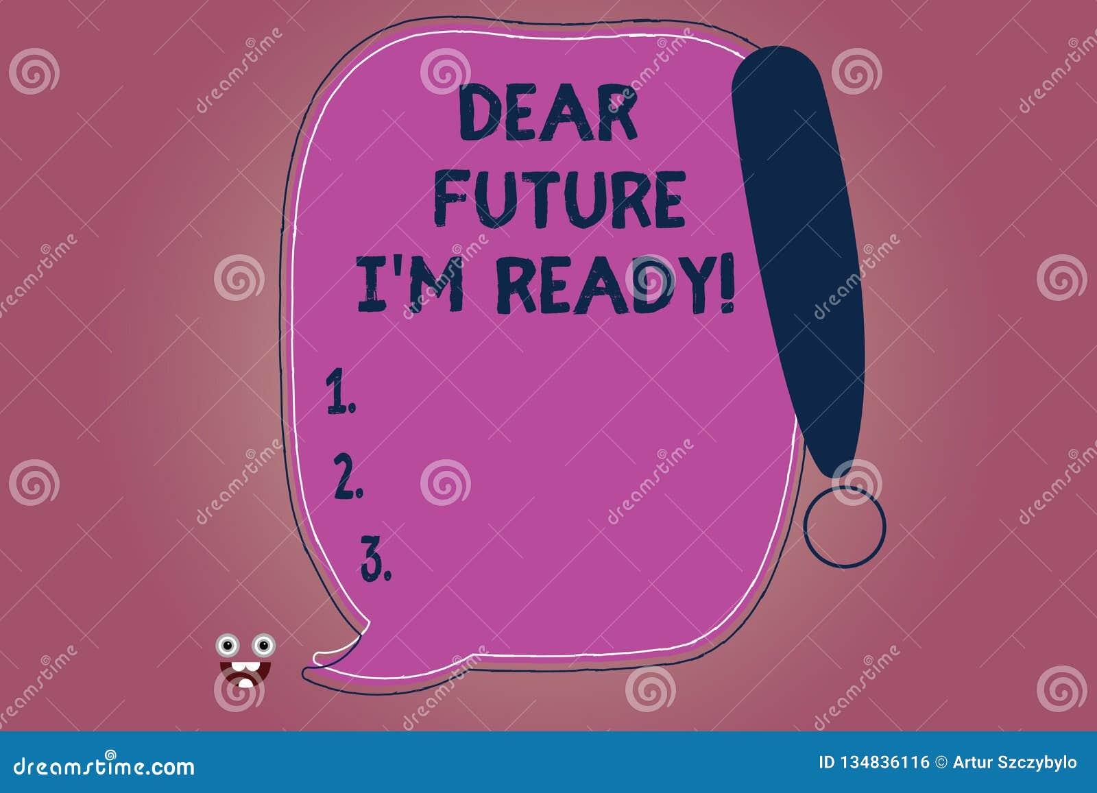 Konceptualna ręka pisze pokazywać Kochanej przyszłości Mnie M Gotowy Biznesowy fotografia tekst przygotowywał dla następnych wyda