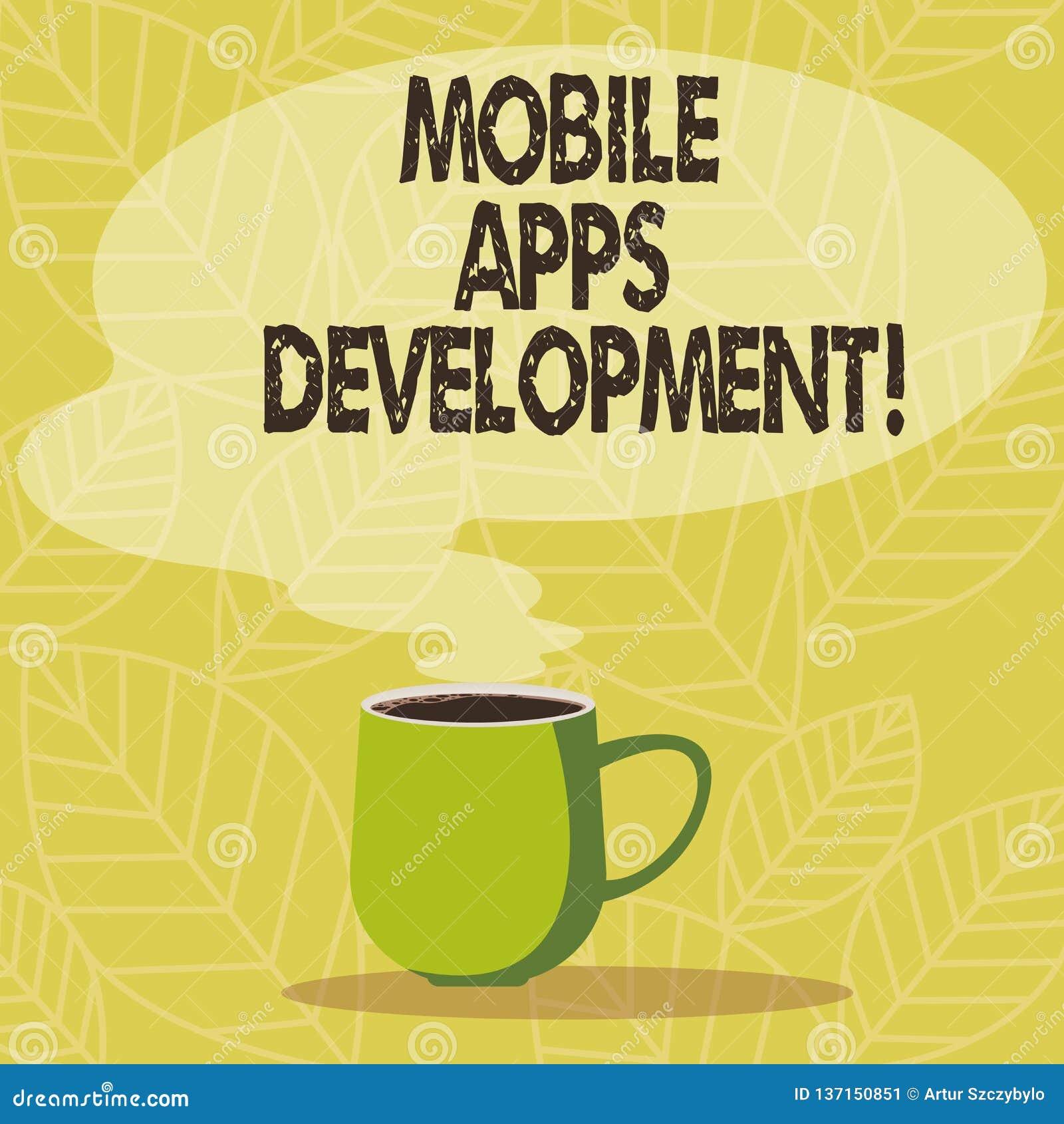 Konceptualna ręka pisze pokazywać Mobilnego Apps rozwój Biznesowa fotografia pokazuje proces rozwijać mobilnego app dla
