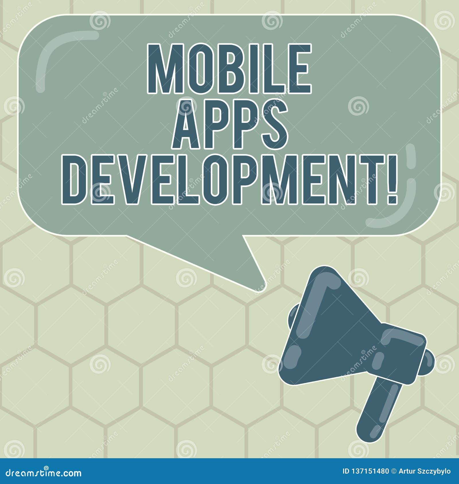 Konceptualna ręka pisze pokazywać Mobilnego Apps rozwój Biznesowy fotografia teksta proces rozwijać mobilnego app dla