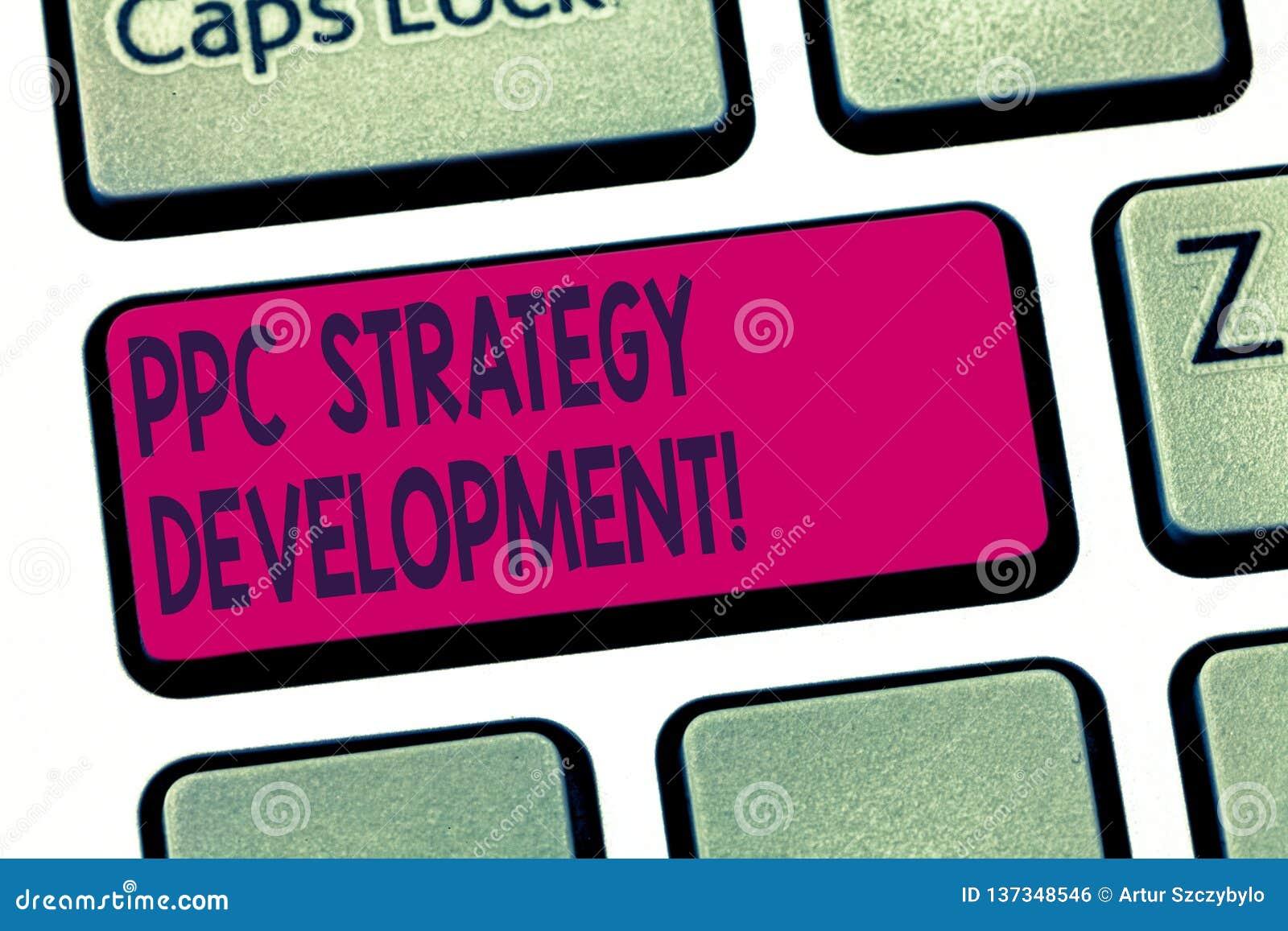 Konceptualna ręka pisze pokazywać Ppc strategii rozwój Biznesowy fotografia tekst rozwijać plan akcji budować