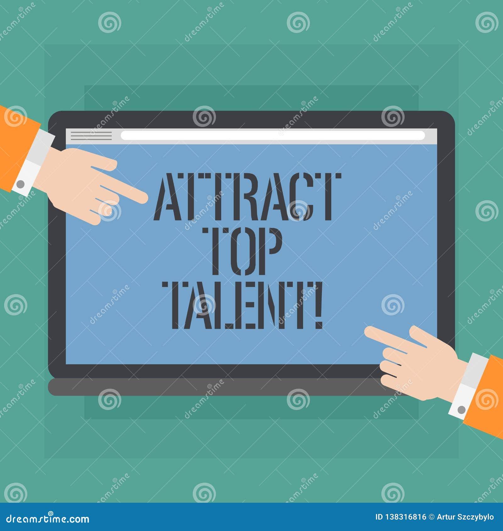 Konceptualna ręka pisze pokazywać Przyciąga Odgórnego talent Biznesowa fotografia pokazuje wyznaczający pracownika który umiejętn