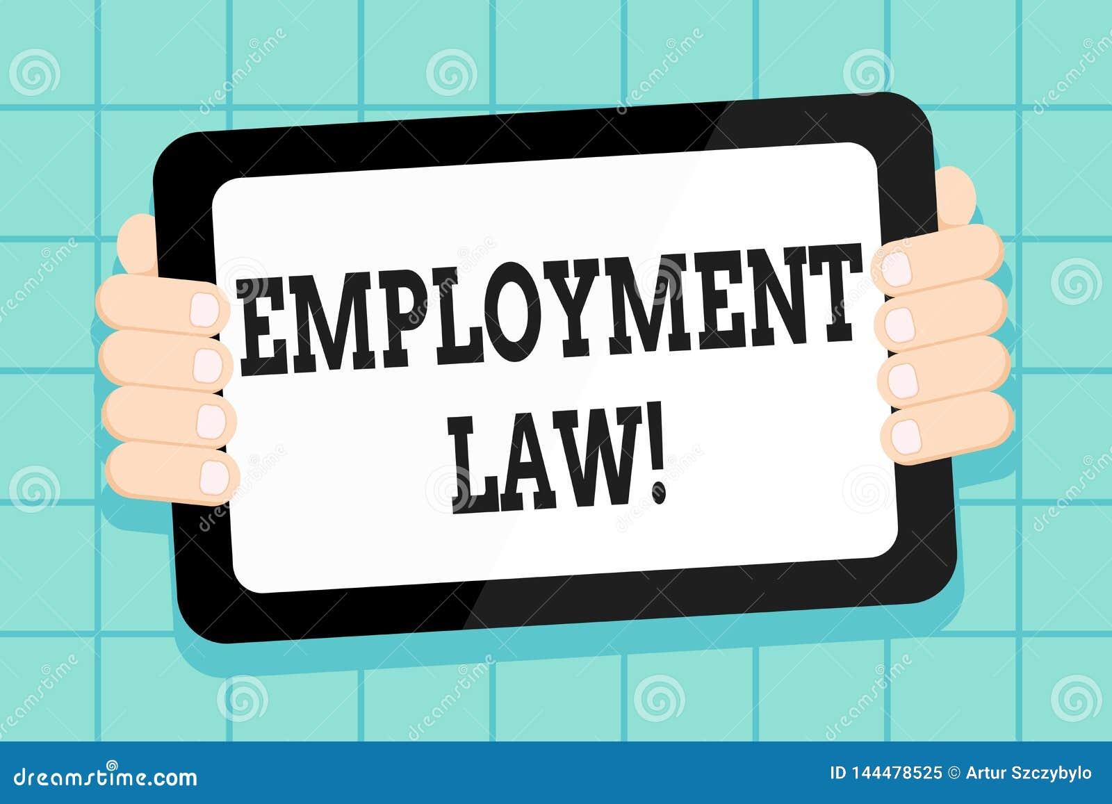 Konceptualna ręka pisze pokazywać Zatrudnieniowego prawo Biznesowa fotografia pokazuje obejmujący wszystkie tereny pracodawca