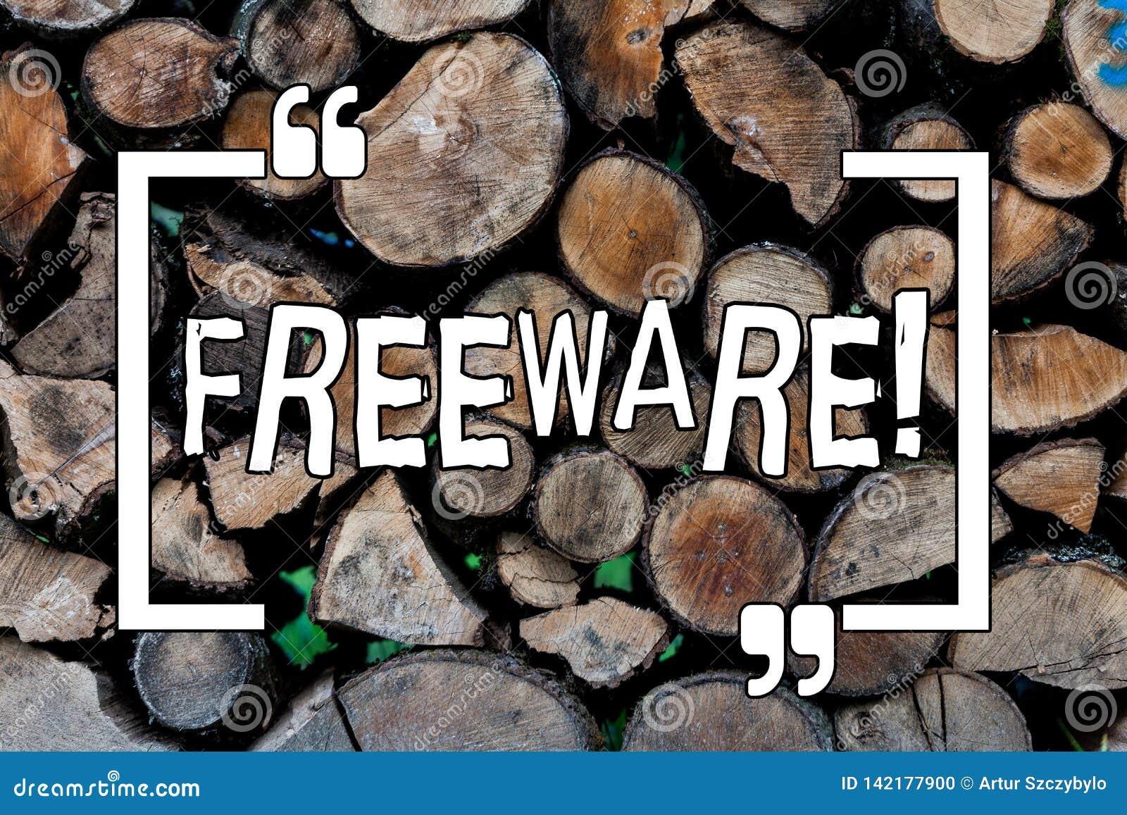 Konceptualny ręki writing pokazuje Freeware Biznesowa fotografia pokazuje oprogramowania zastosowanie którego dla dostępny jest u