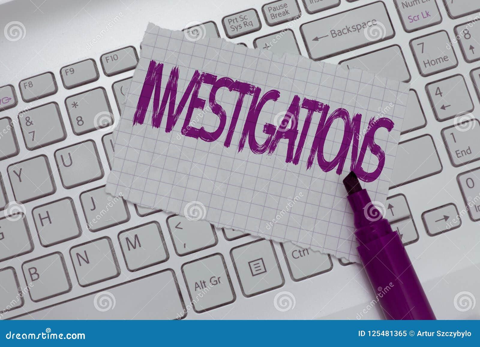 Konceptualny ręki writing pokazuje dochodzenia Biznesowy fotografia tekst systematyczny egzamin o coś lub
