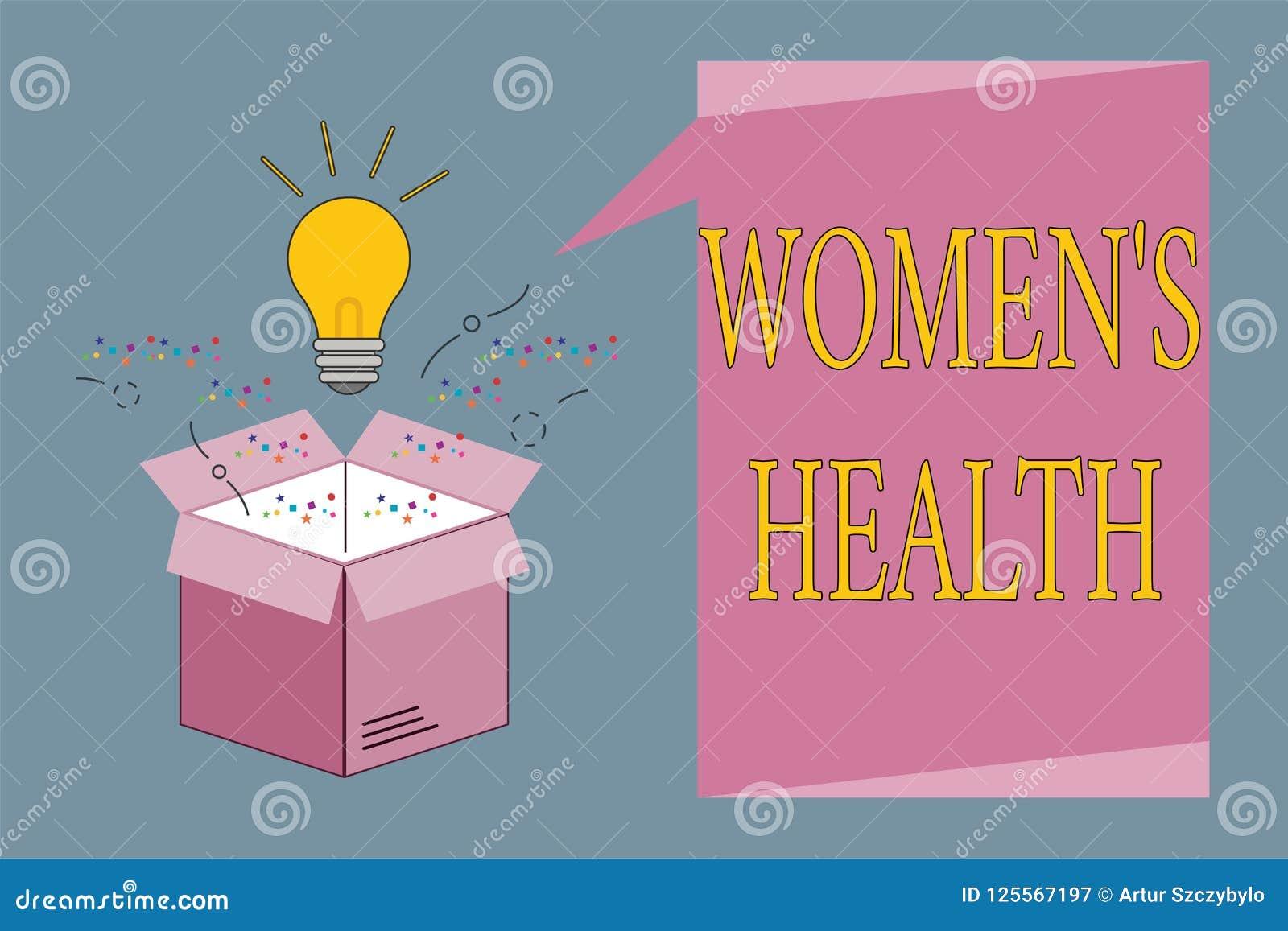 Konceptualny ręki writing pokazuje kobietom s jest zdrowiem Biznesowa fotografia pokazuje kobiet s fizycznych zdrowie konsekwenci