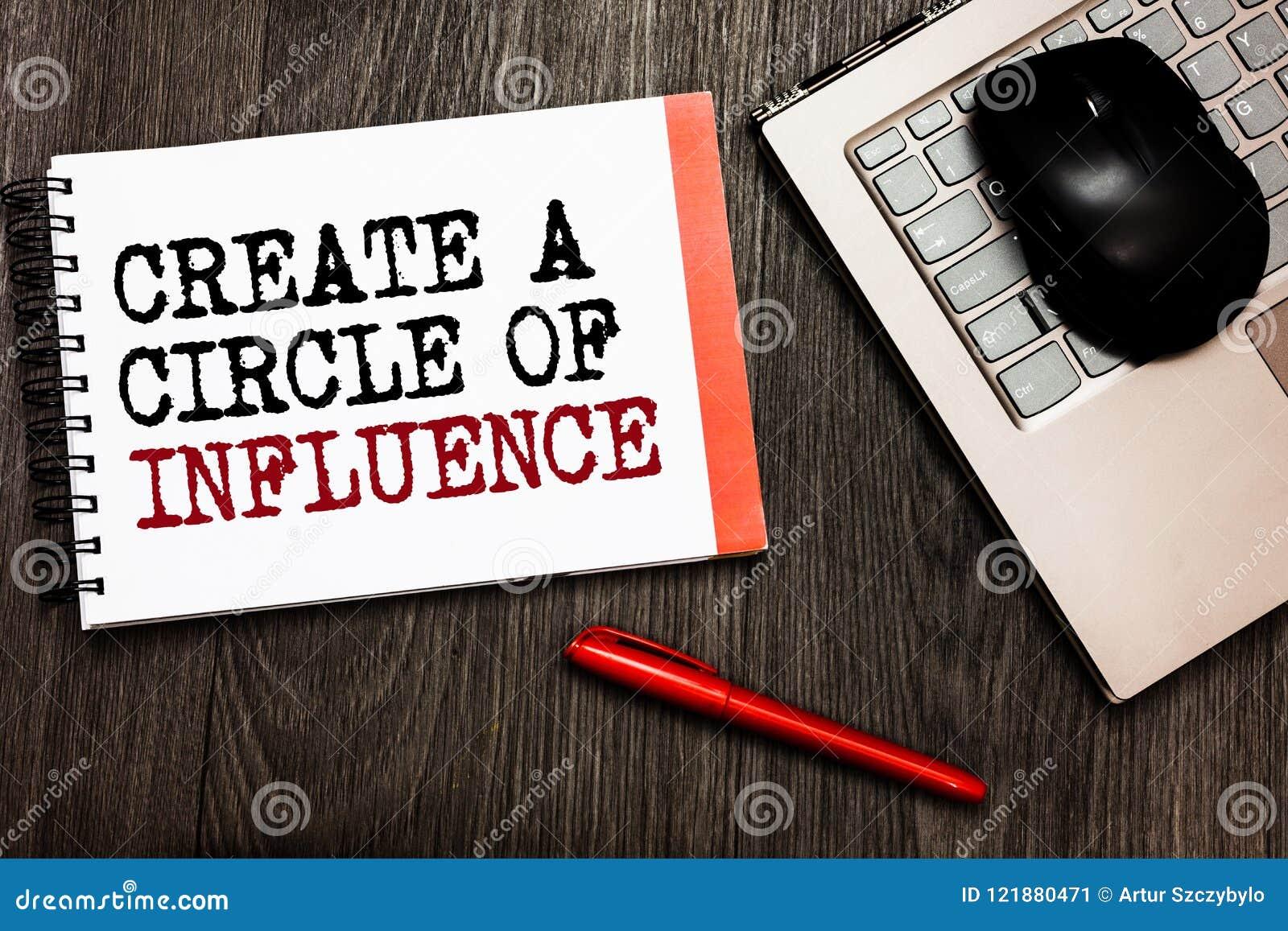 Konceptualny ręki writing seans Tworzy okrąg oddziaływanie Biznesowy fotografii pokazywać Był influencer liderem motywuje innego