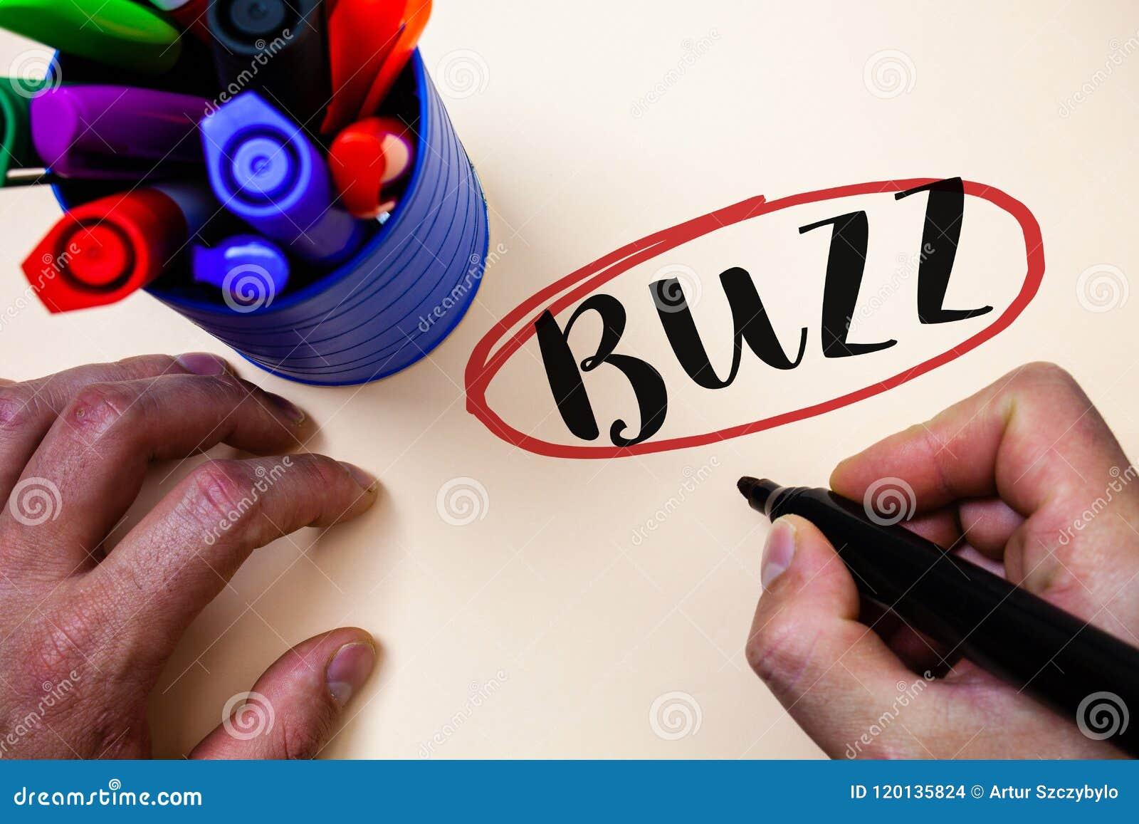 Konceptualny ręki writing seansu brzęczenie Biznesowy fotografia teksta brzęczenia mruczenia trutnia Fizz pierścionek Sibilation