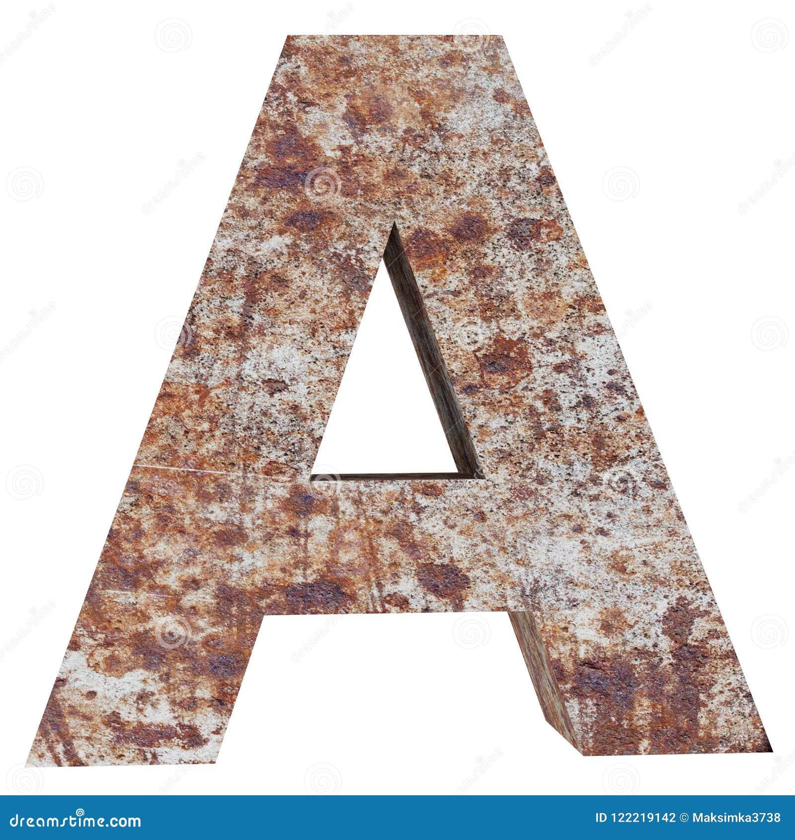 Konceptualny stary rdzewiejący meta kapitałowy list - A, żelaza lub stalowego przemysłu kawałek, odizolowywał białego tło