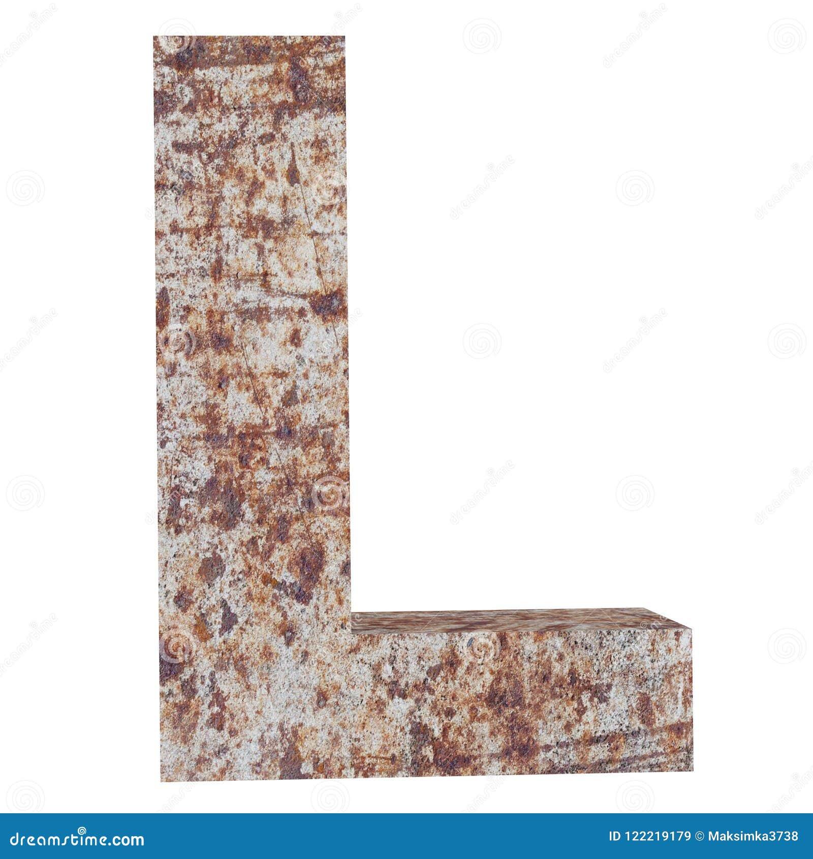 Konceptualny stary rdzewiejący meta kapitałowy list - L, żelaza lub stalowego przemysłu kawałek, odizolowywał białego tło