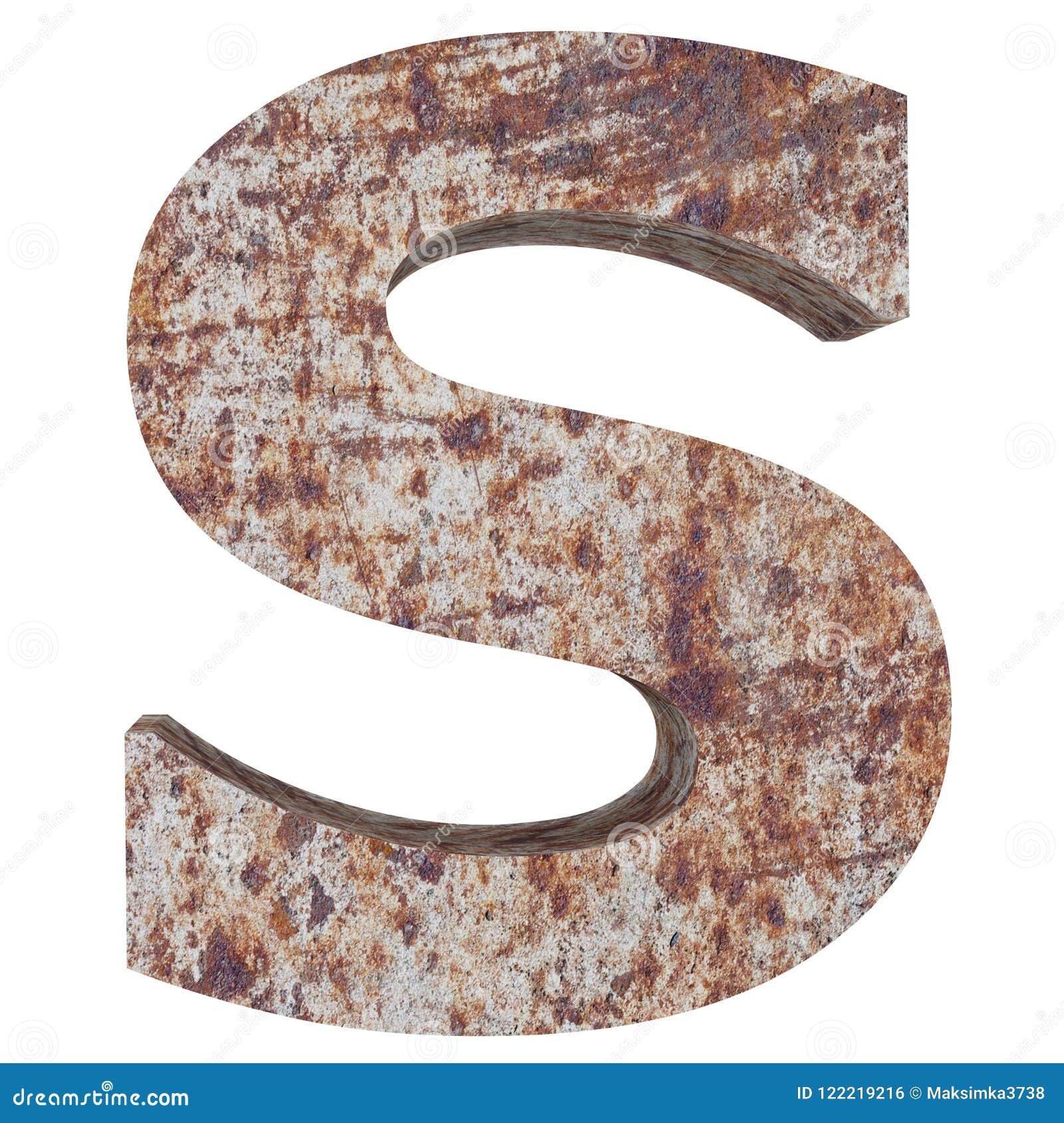 Konceptualny stary rdzewiejący meta kapitałowy list - S, żelaza lub stalowego przemysłu kawałek, odizolowywał białego tło Kształc