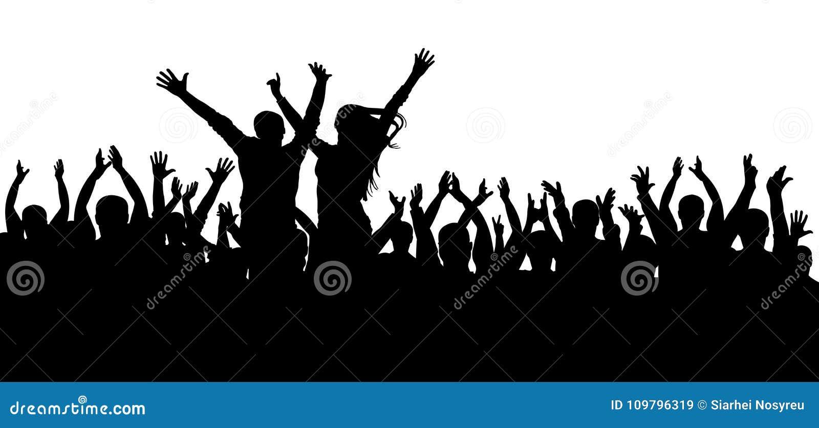 Koncertowa dyskoteka, tanczy tłum sylwetkę, rozochoceni ludzie