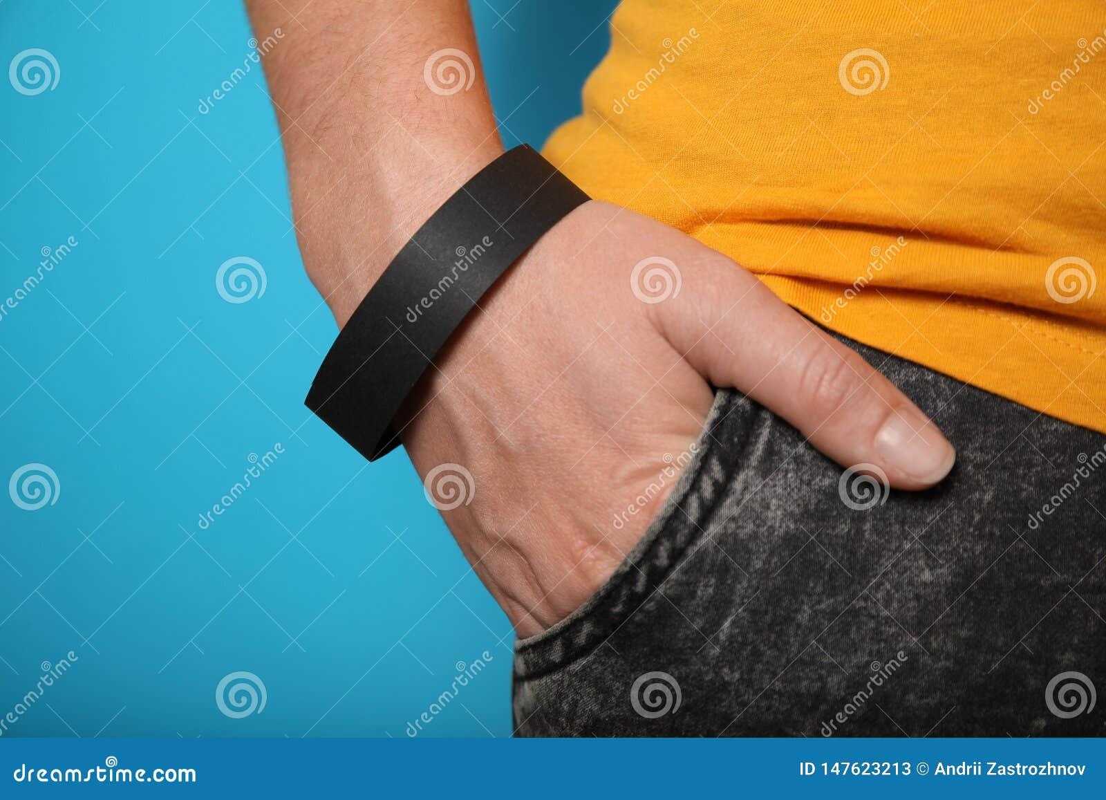 Koncertowy czer? papieru bransoletki mockup, wydarzenia wristband R?ki aktywno?ci akcesorium tani, adhezyjny,
