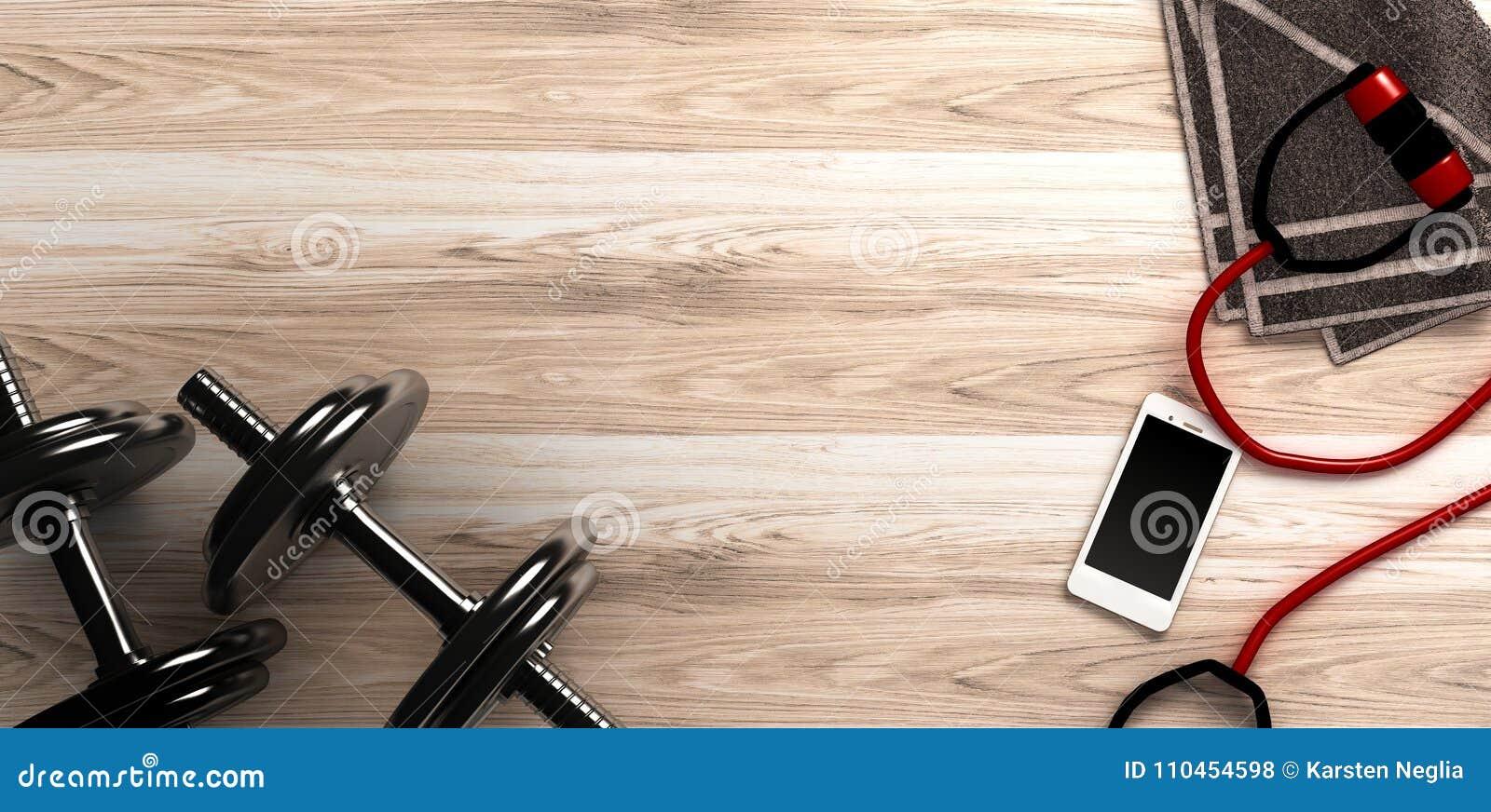 Konditionbakgrund med hantlar och smartphonen ovanför sikt