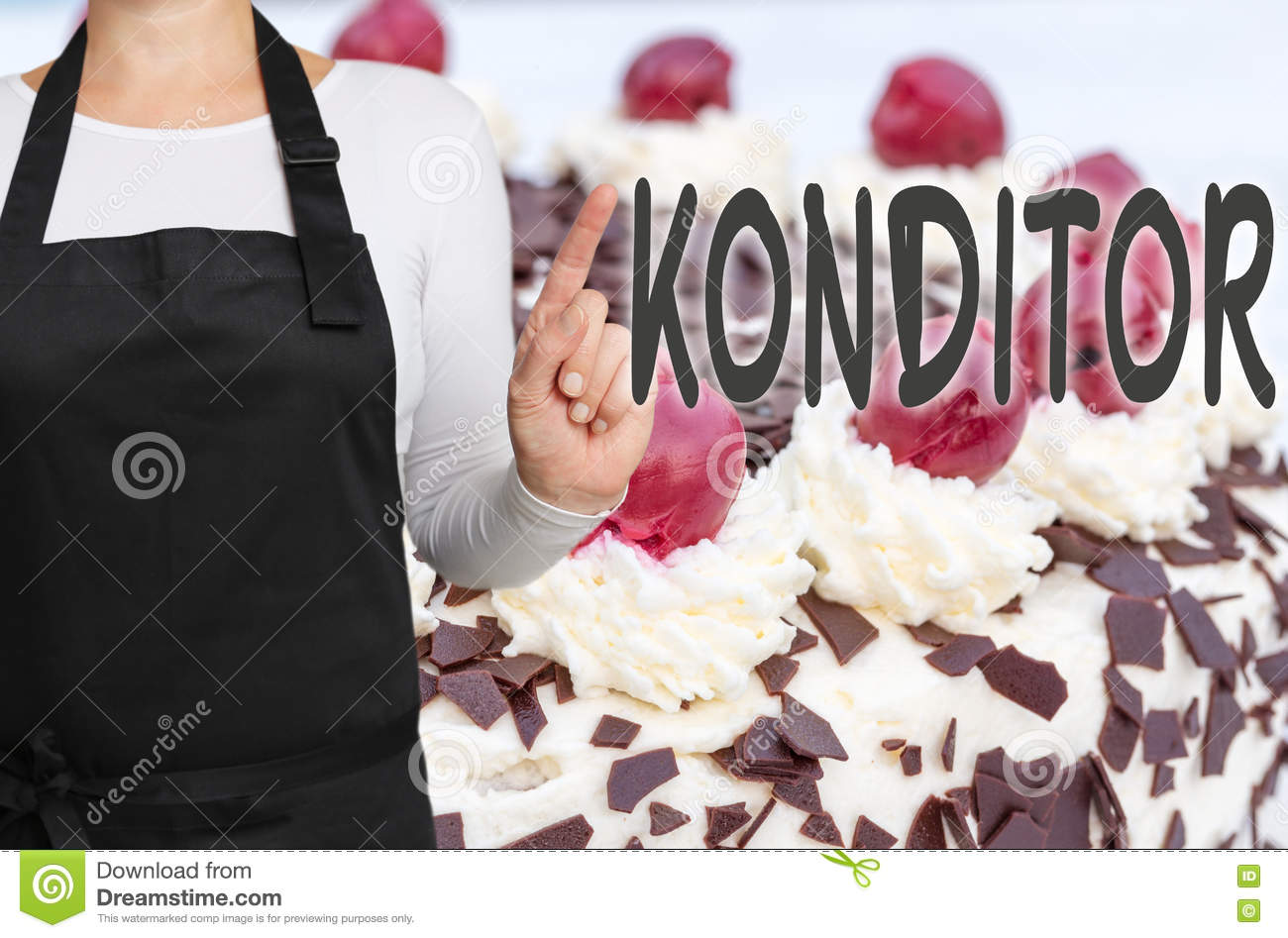 Konditor (in german Confectioner) with cake background concept t