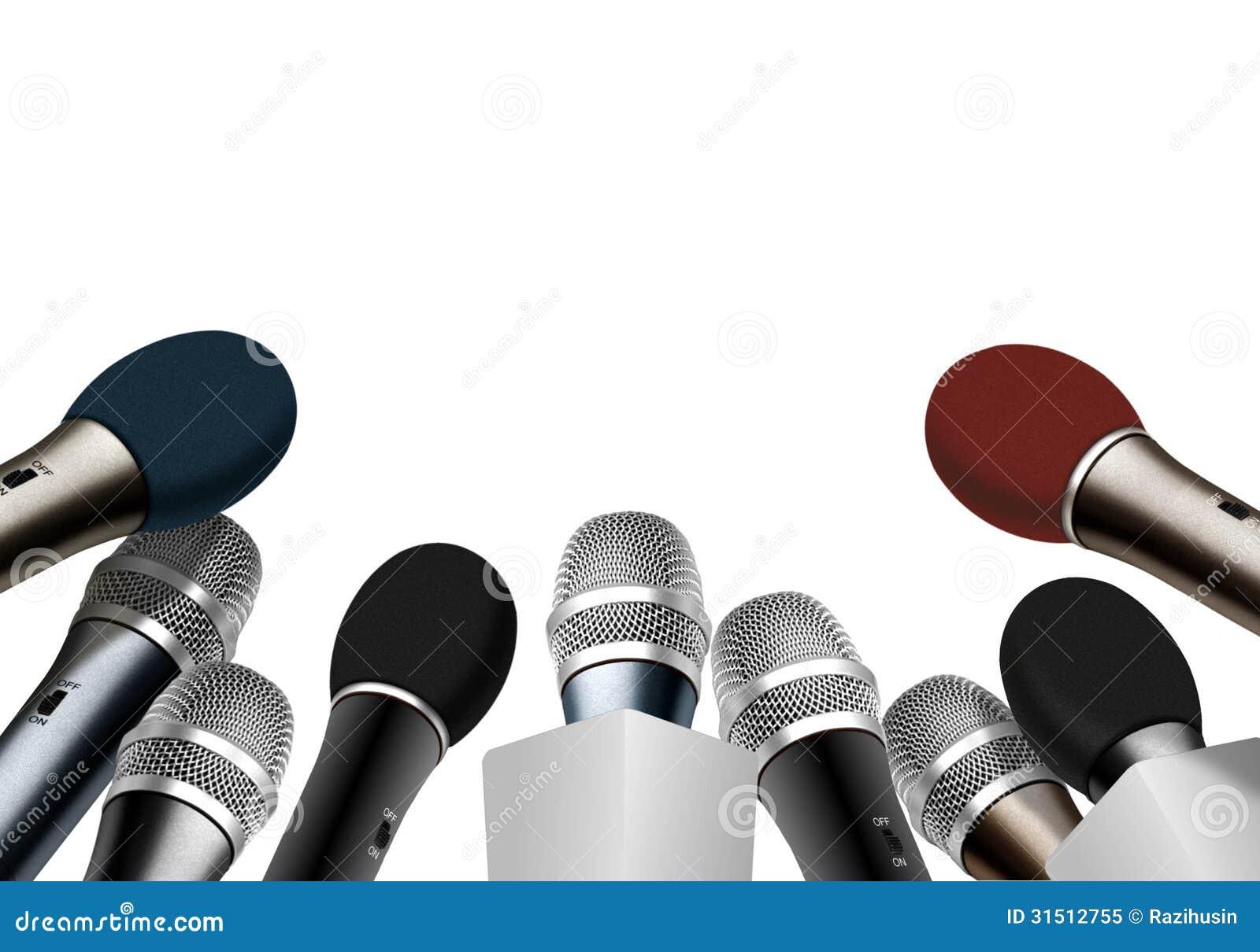 Konferencja prasowa mikrofony
