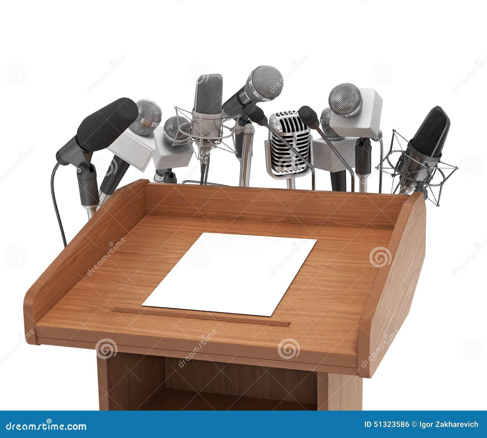 Konferencyjni spotkanie mikrofony z trybuną