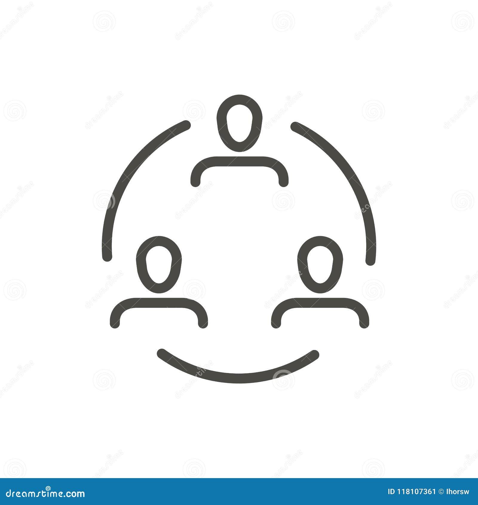 Konferenssymbolsvektor Isolerat Linecommunication symbol Moderiktig plan design för översiktsuitecken tunt