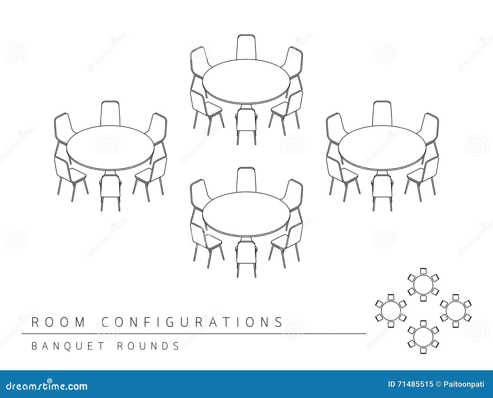 Einrichtungsplan  Konferenzzimmer-Einrichtungsplan-Konfiguration Bankett Rundet Art ...