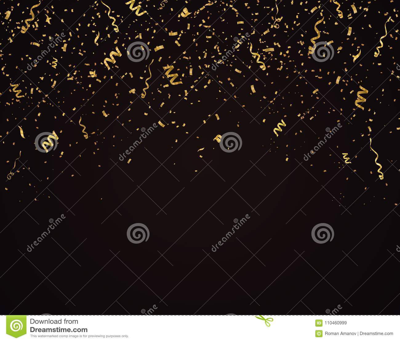 Konfettivektorbakgrund Lyxig festlig illustration Isolerade stupade guld- band