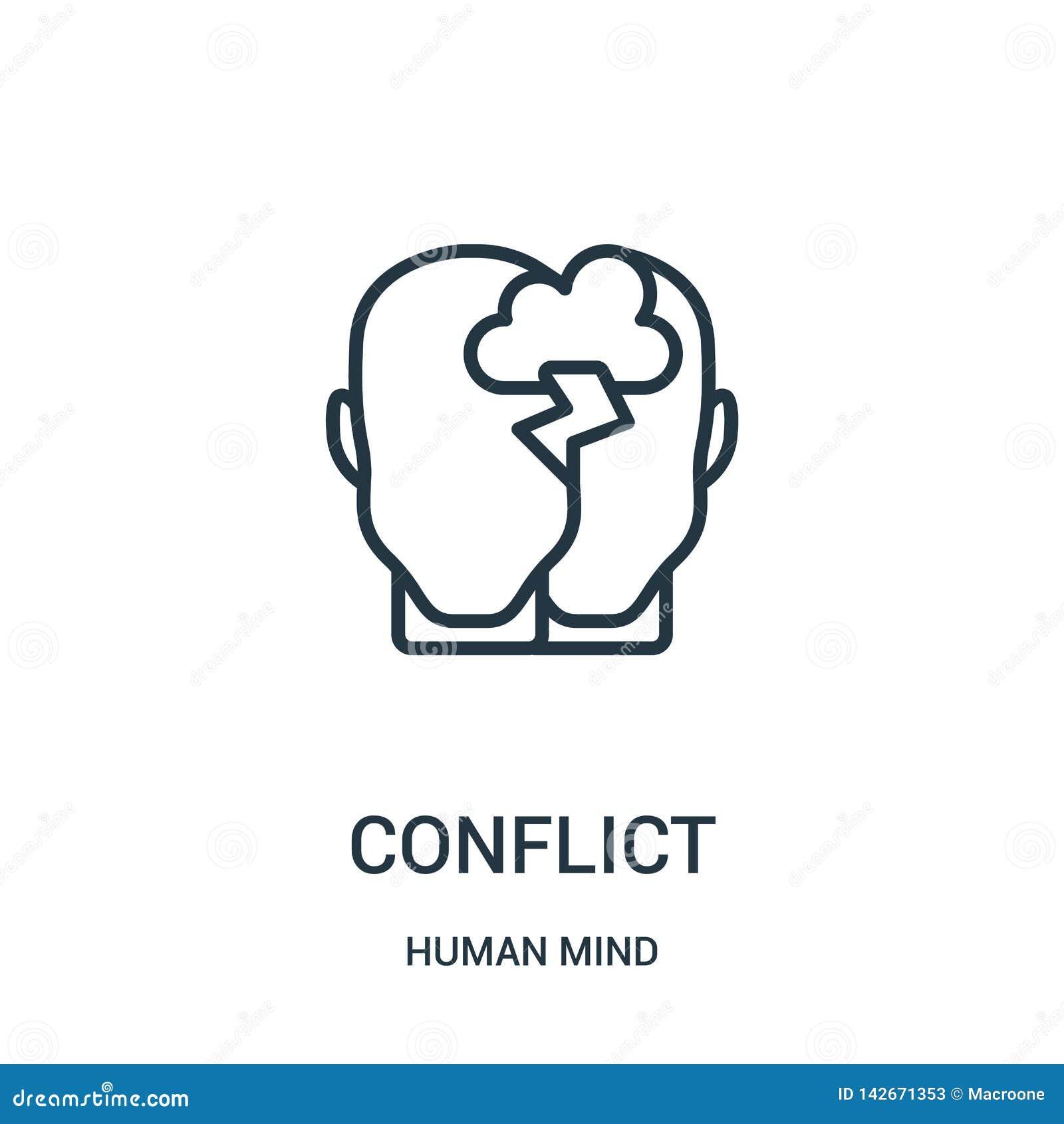 Konflikt ikony wektor od ludzki umysł kolekcji Cienka kreskowa konfliktu konturu ikony wektoru ilustracja Liniowy symbol dla używ