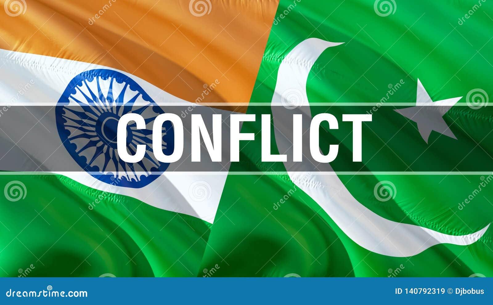Konflikt på Pakistan och Indien flaggor Vinkande flaggadesign, tolkning 3D Pakistan Indien flaggabild, tapetbild kashmir