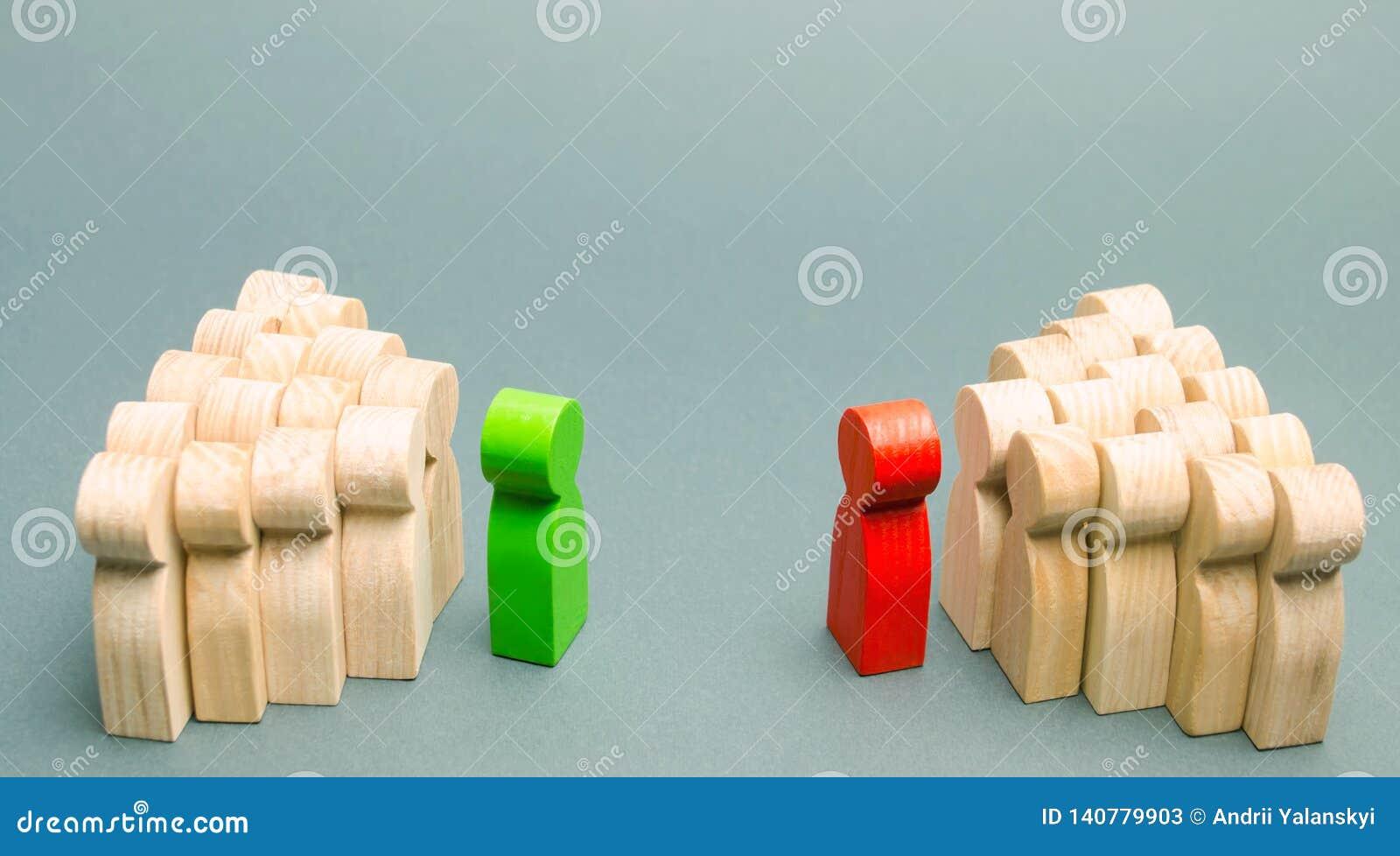 Konflikten mellan ledarna av de två lagen running för begrepp för konkurrens för portföljaffärsaffärsman Sökande för kompromisser