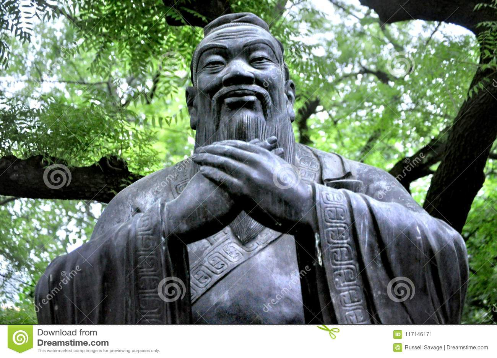 """Konfucius för å"""" å staty, Qingdao Kina"""